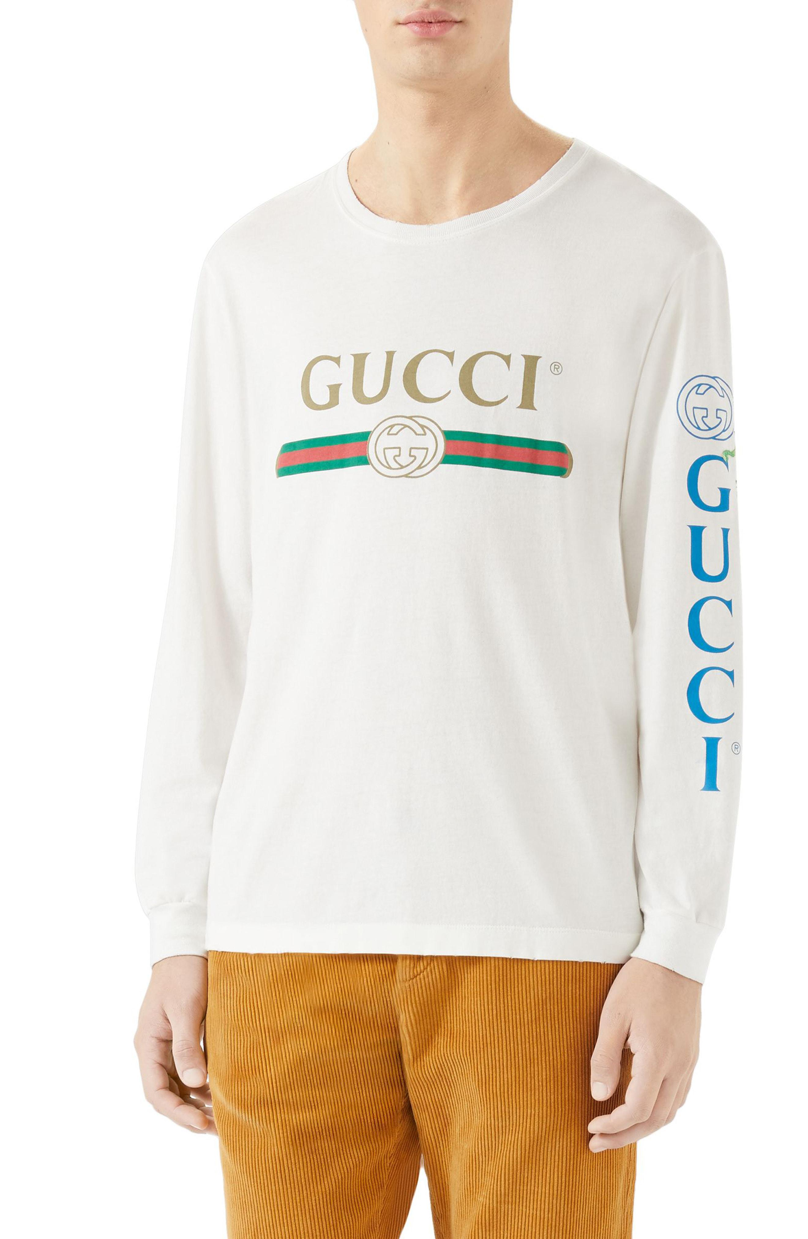 1b6afe25d Lyst - Gucci Dragon Applique Long-sleeve T-shirt in White for Men