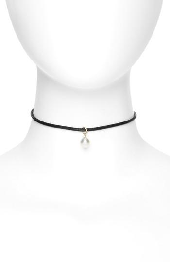 Mizuki Leather Collar Necklace with Pearl Chain EwSVIsXmX