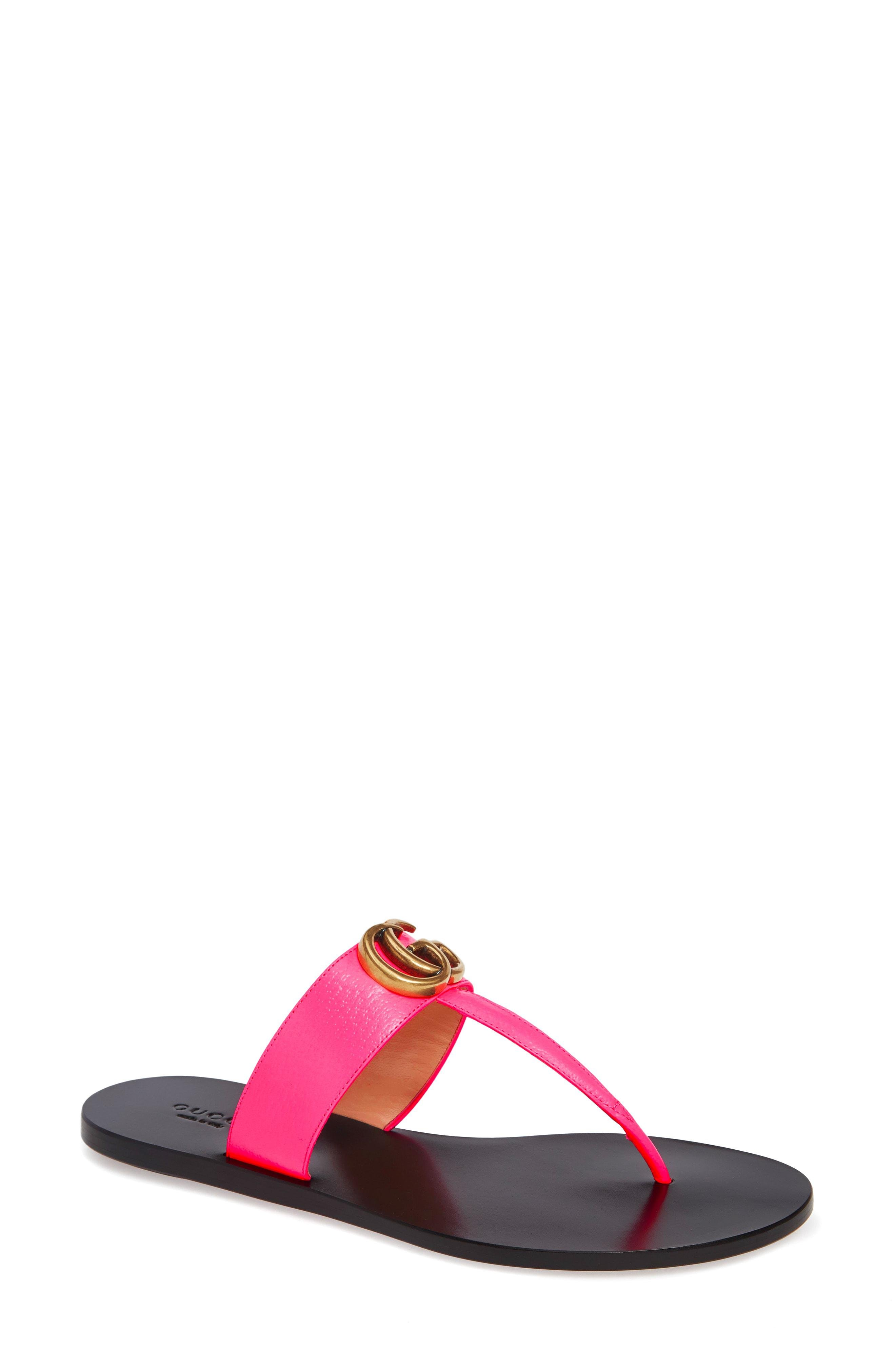 037429111 Lyst - Gucci Marmont GG Thong Leather Sandals in Pink