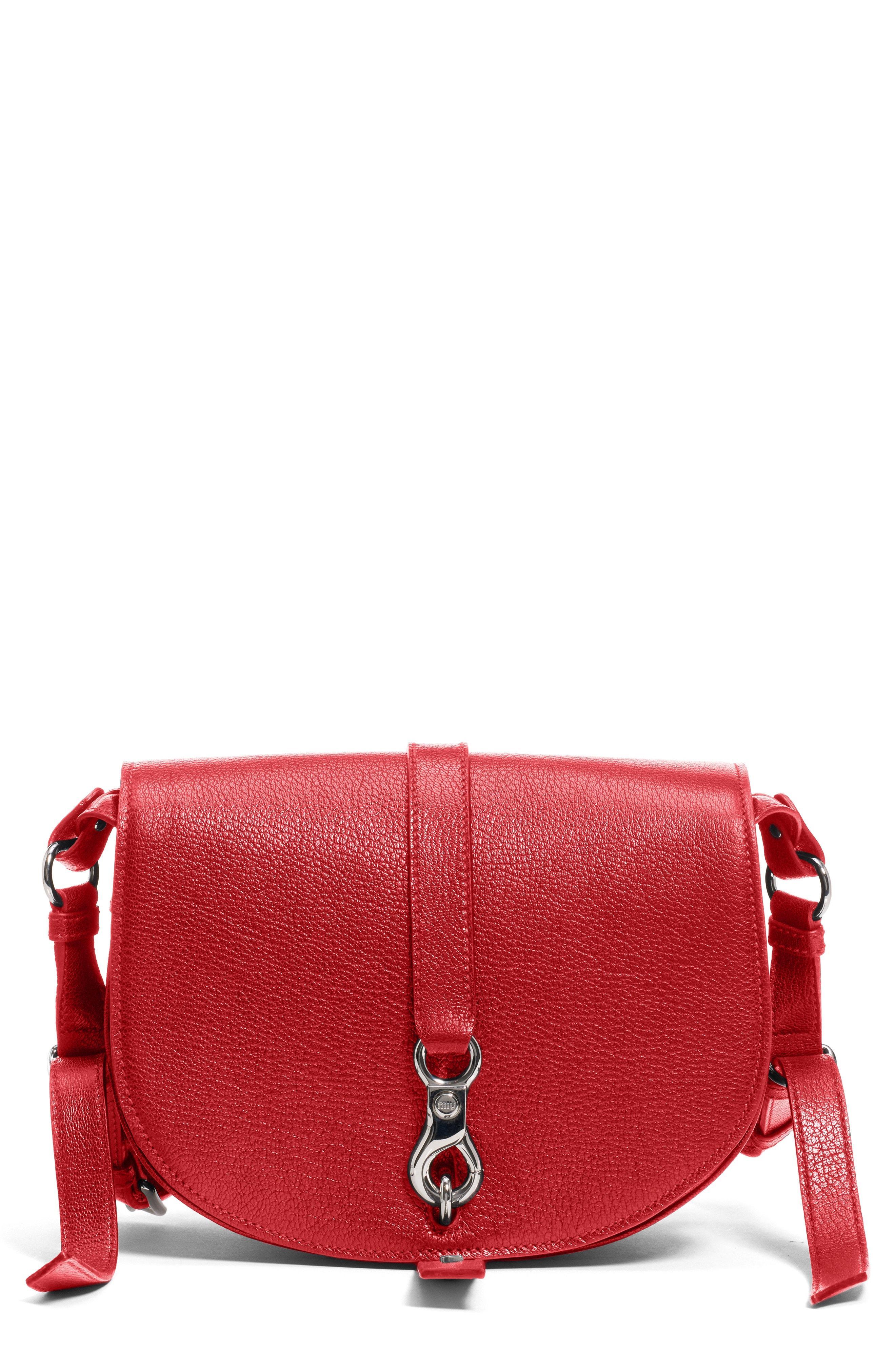 4204be3f35e Lyst - Miu Miu Madras Hunting Leather Crossbody Bag in Red