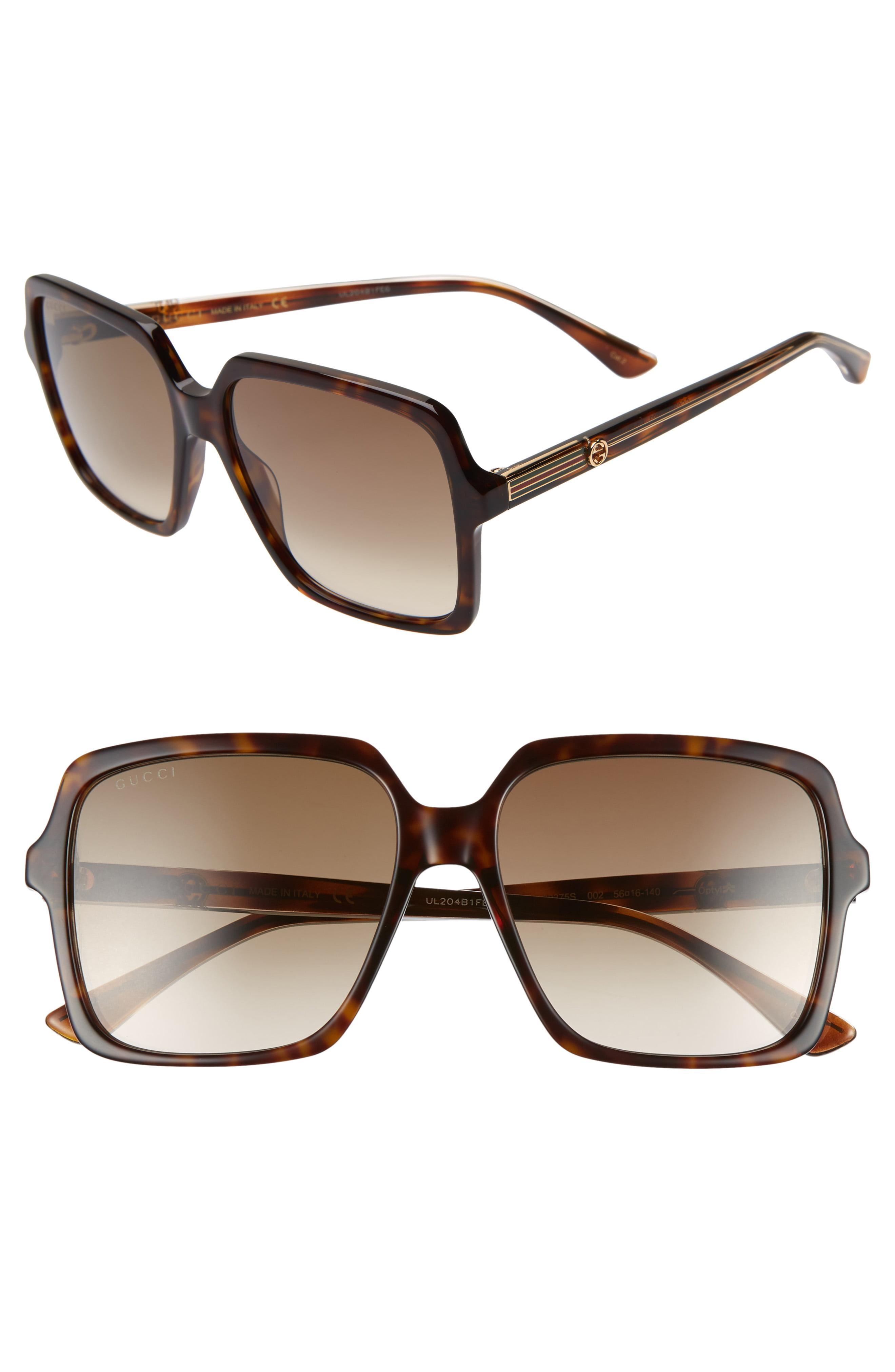 e0c204038f236 Gucci - 56mm Square Sunglasses - Dk Havana cry brown Gradient - Lyst. View  fullscreen