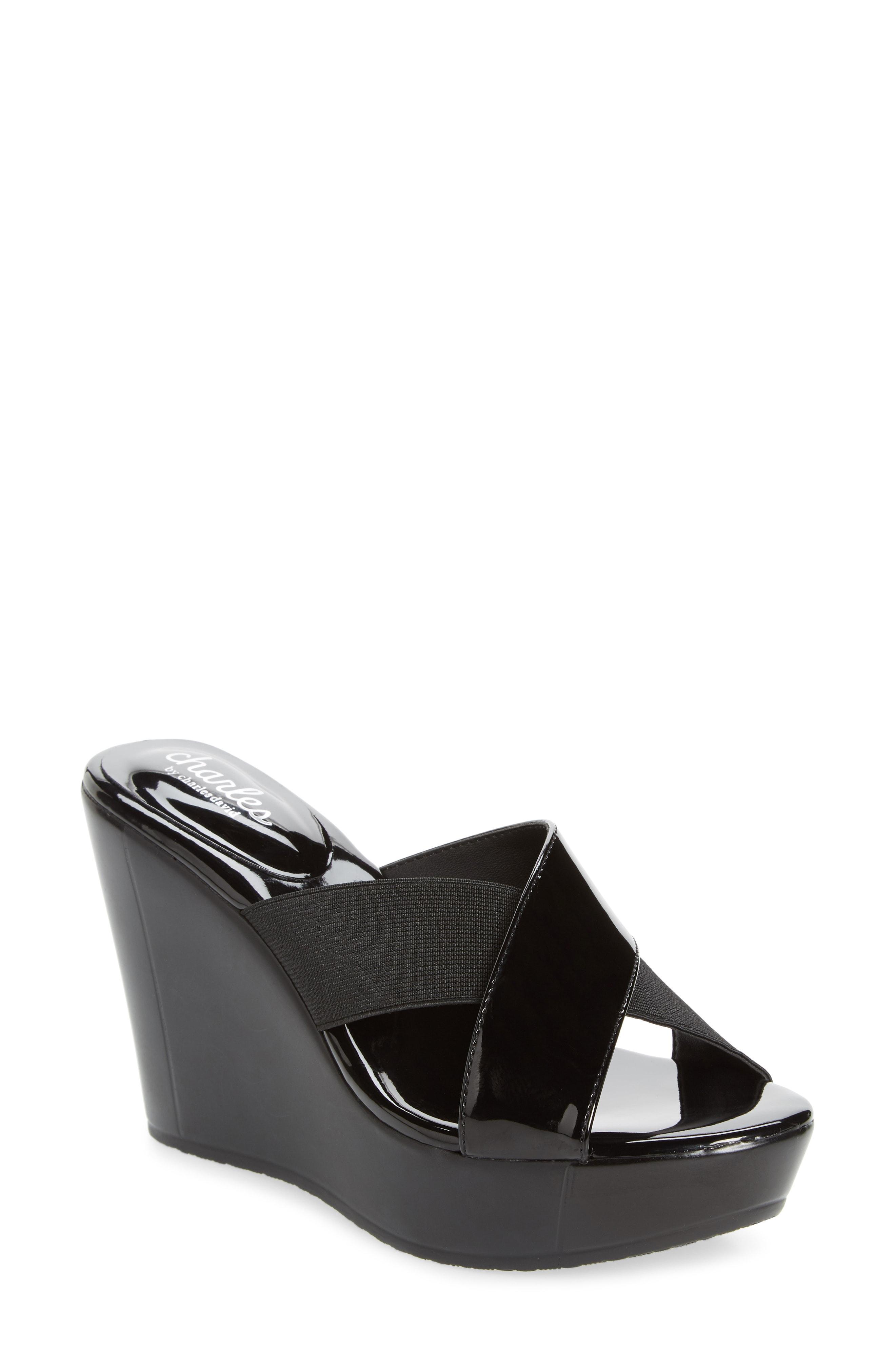 37ba044376a Lyst - Charles David Fuzho Platform Wedge Sandal in Black
