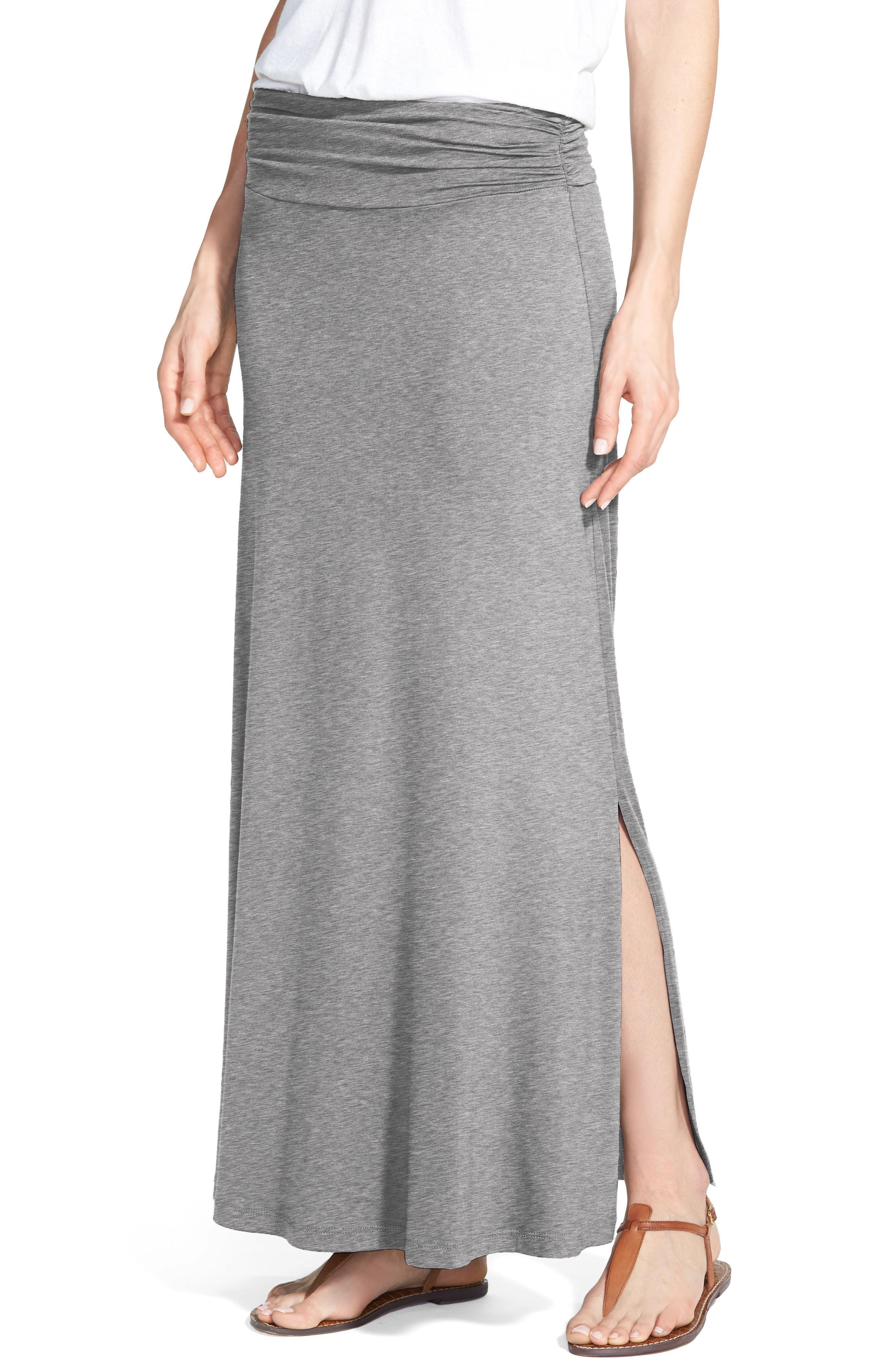 15bd8da972c Lyst - Bobeau Ruched Waist Side Slit Maxi Skirt in Gray - Save 50%