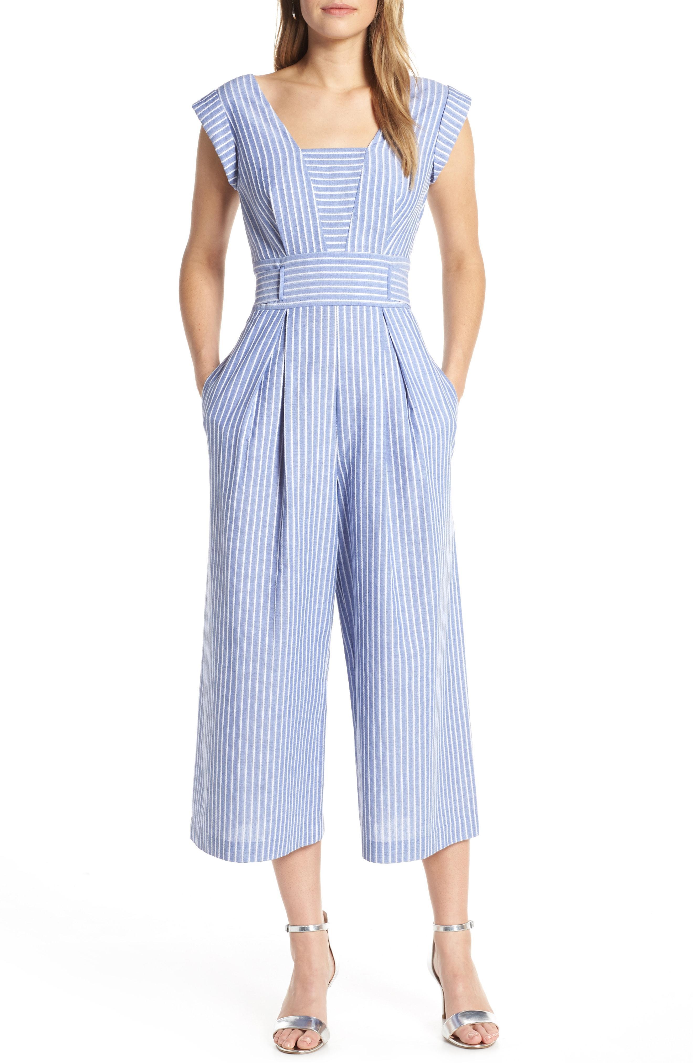 5523821611b Lyst - Nordstrom 1901 Square Neck Crop Jumpsuit in Blue