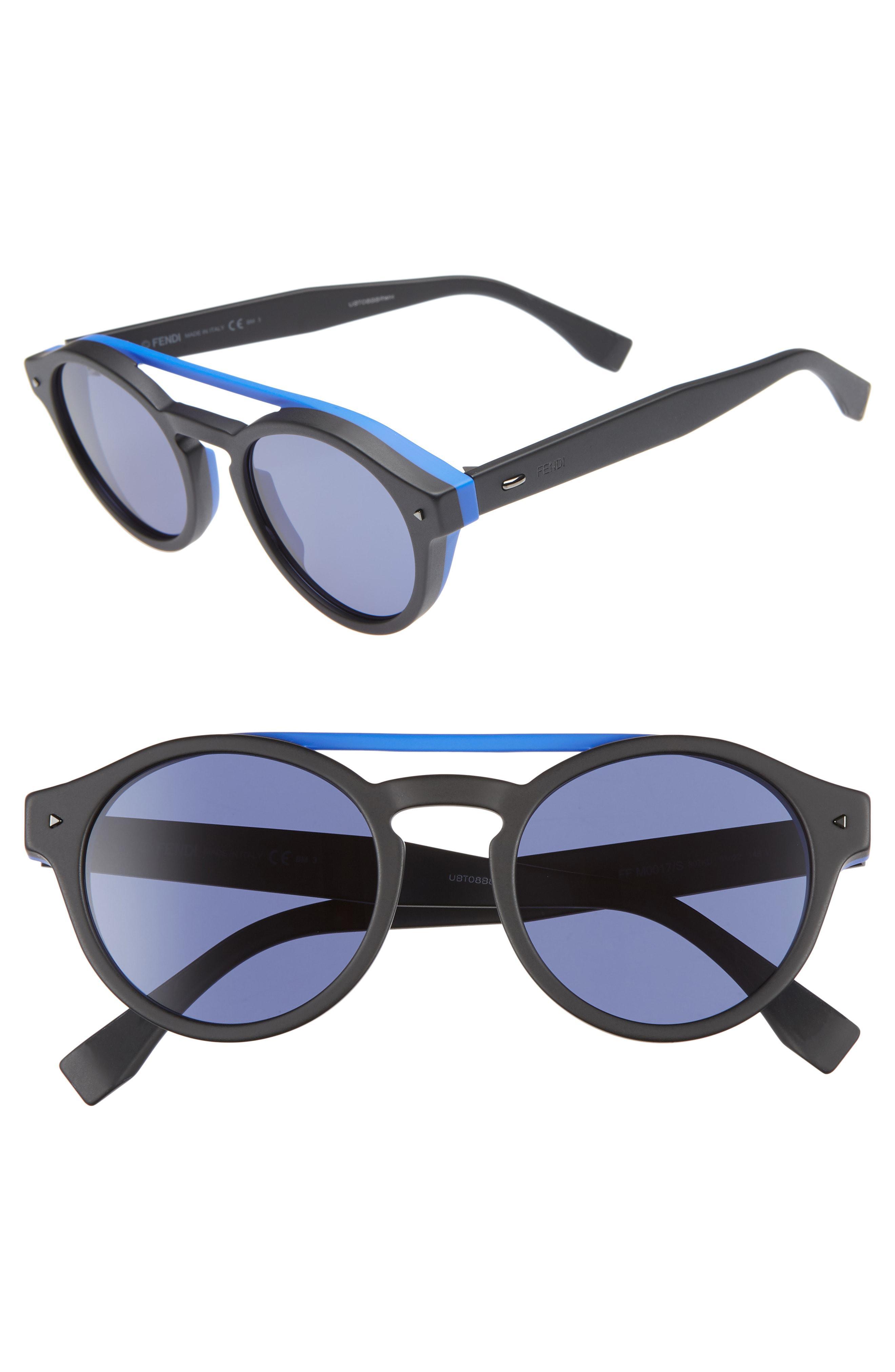 34a8dea679 Lyst - Fendi 51mm Round Sunglasses in Black for Men
