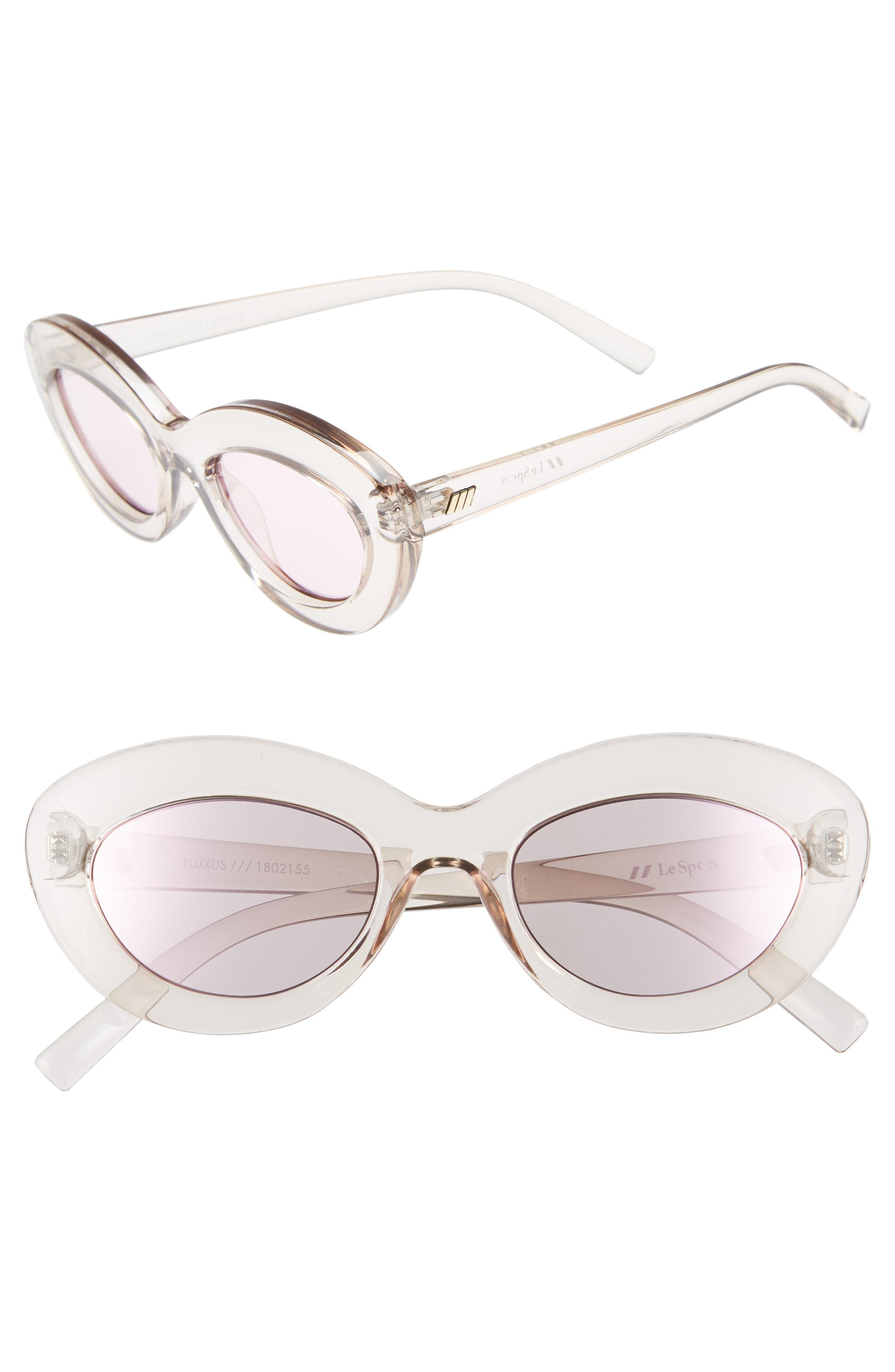 55d07958297 Lyst - Le Specs Fluxus 48mm Cat Eye Sunglasses in Pink