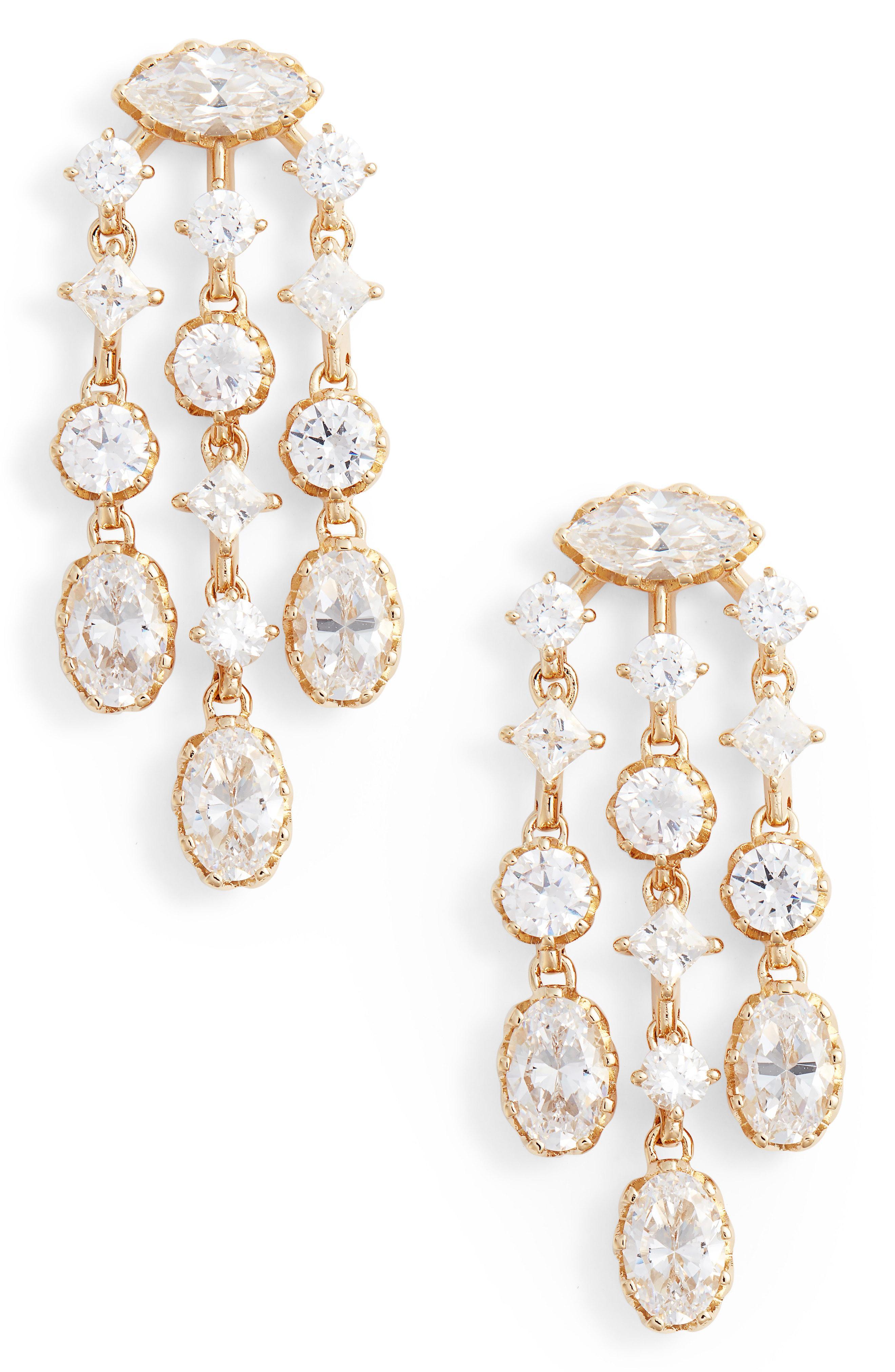 3484d6d9a Lyst - Nadri Georgian Chandelier Earrings in Metallic