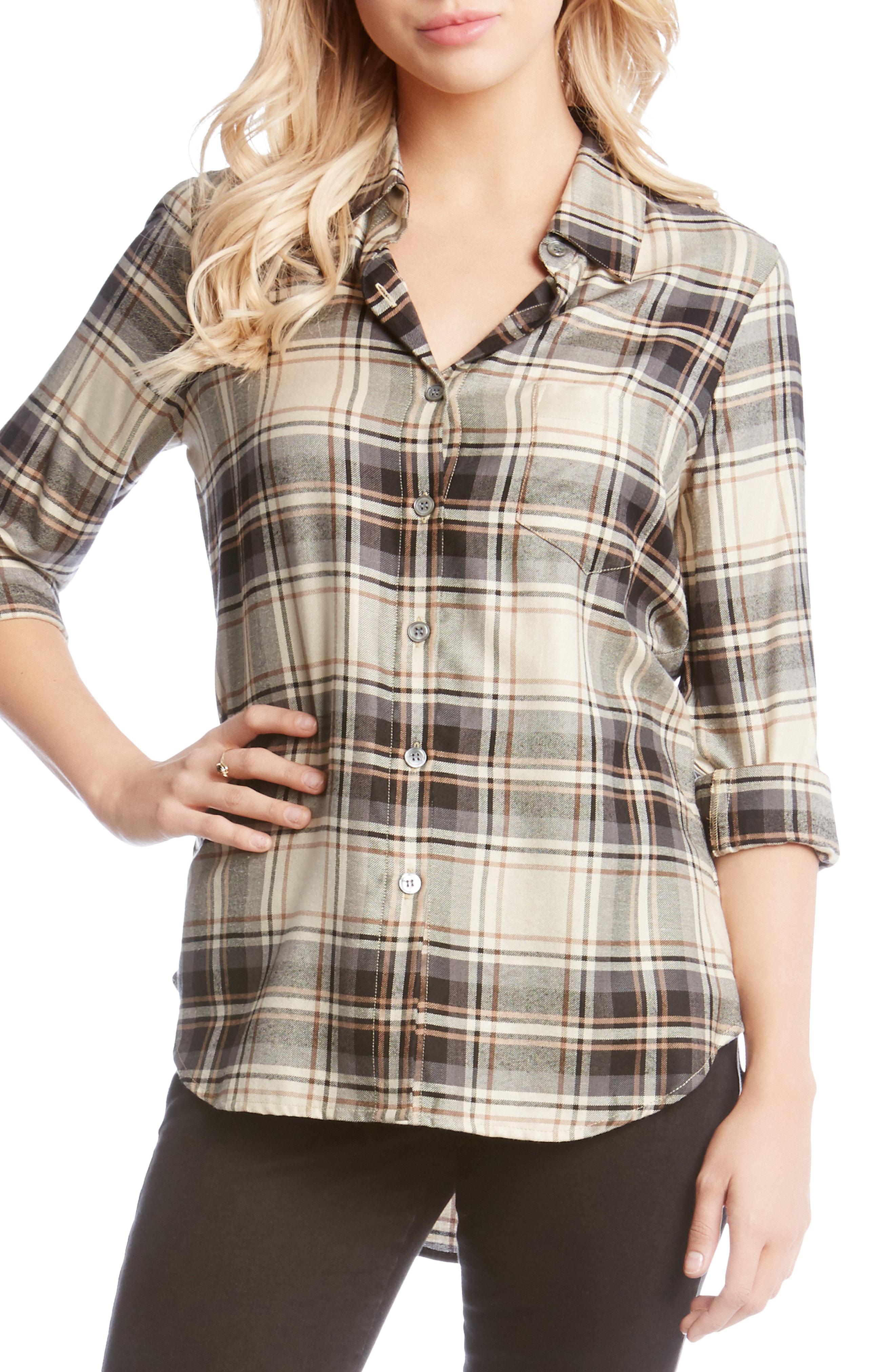 a2b56651 Lyst - Karen Kane Roll Sleeve Plaid Shirt