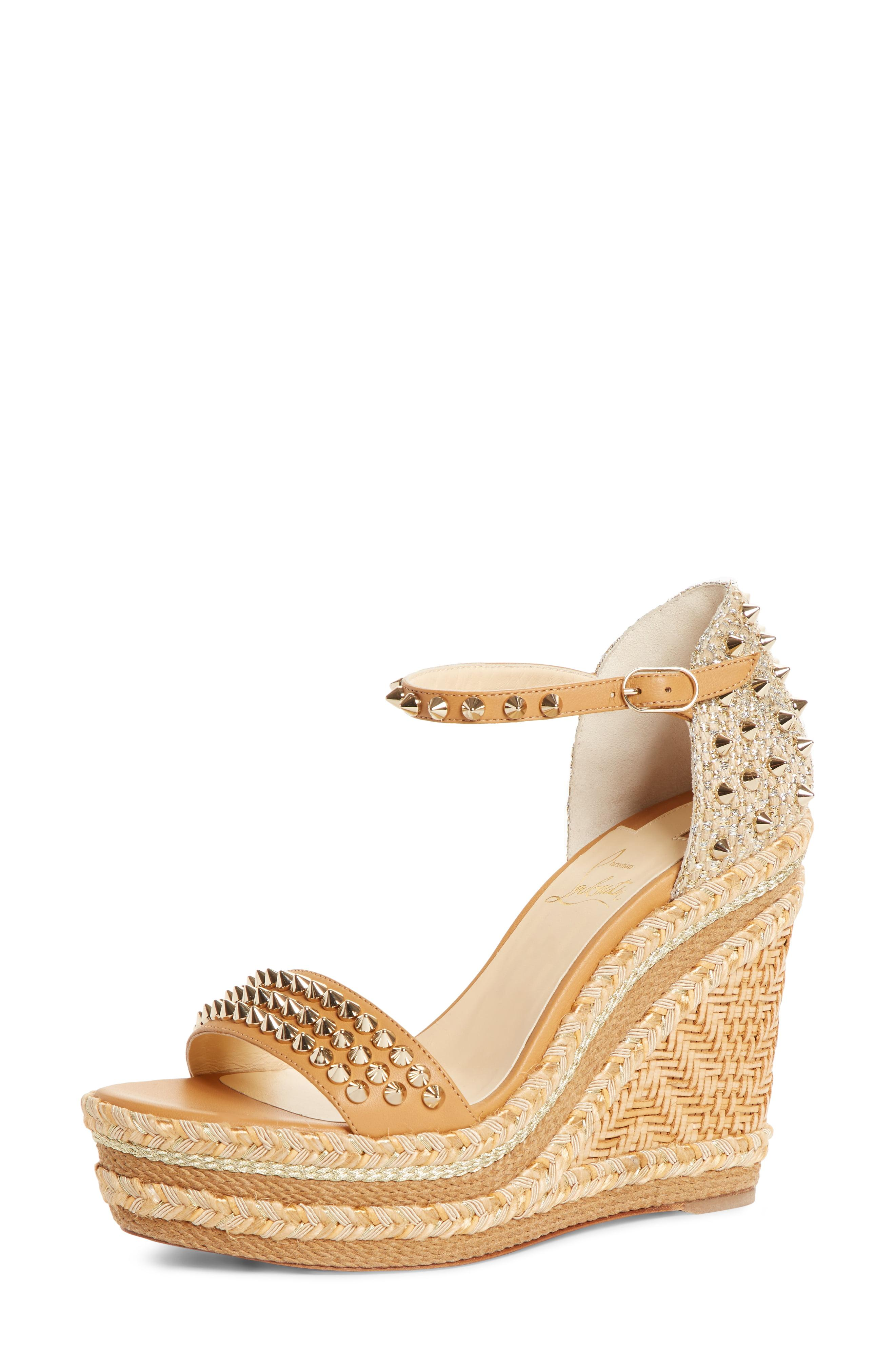 d8a141d8e3c7 Lyst - Christian Louboutin Madmonica Spike Wedge Sandal in Metallic