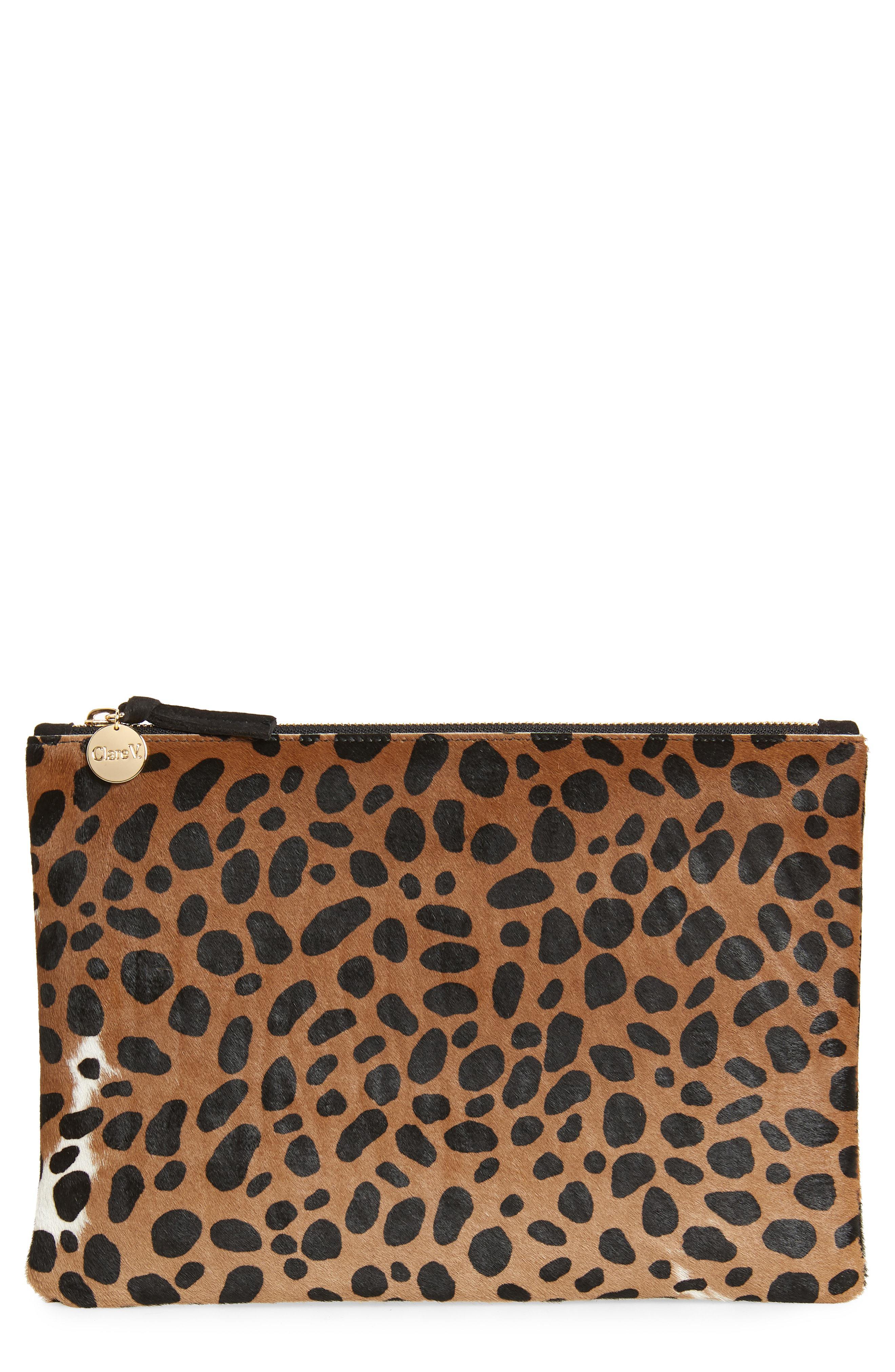 3d9d6e02a8a8 Lyst - Clare V. Leopard Print Genuine Calf Hair Clutch - in Brown ...