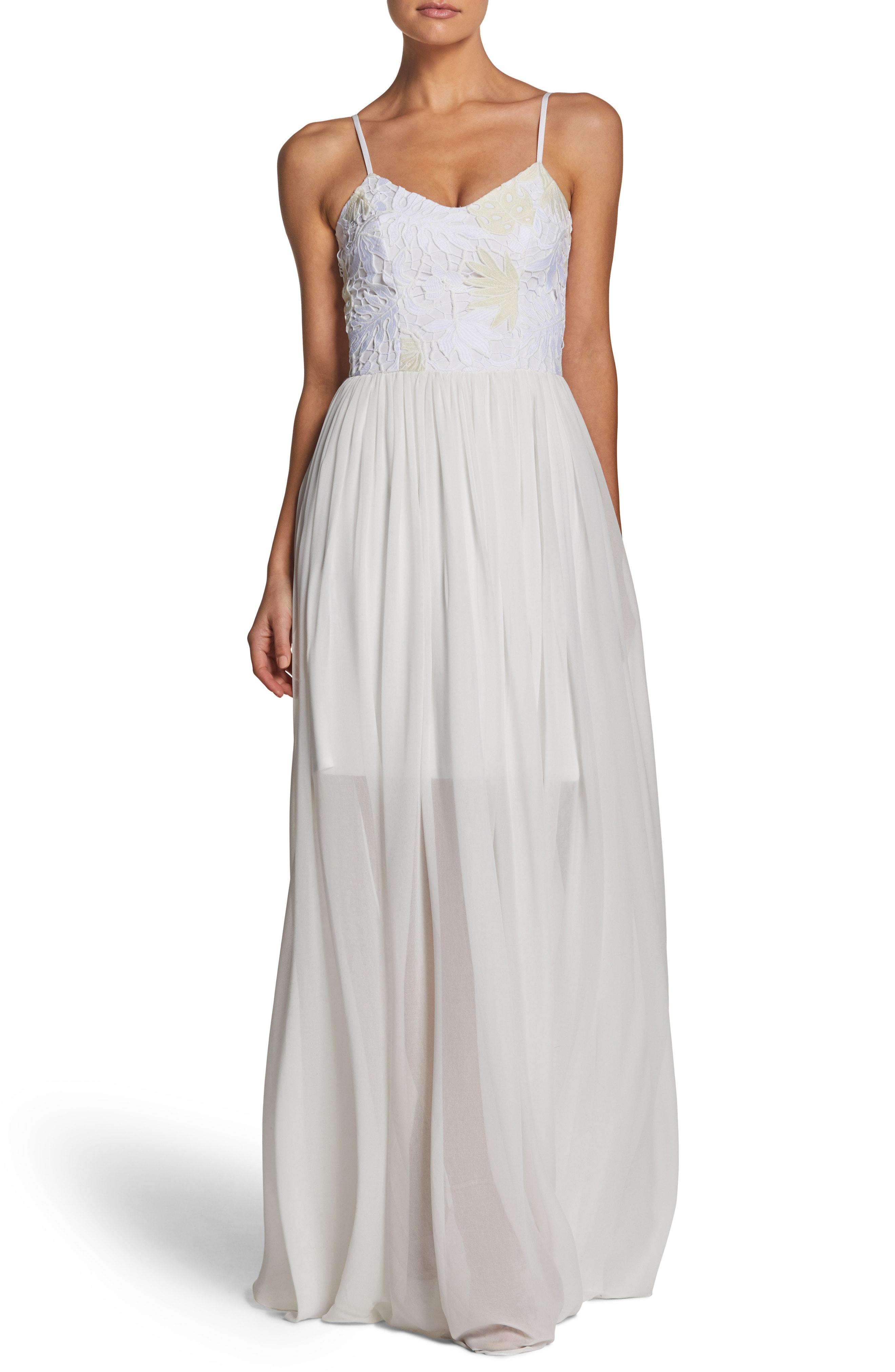 b7fd9ae2692 Lyst - Dress The Population Asha Lace   Chiffon Gown in White