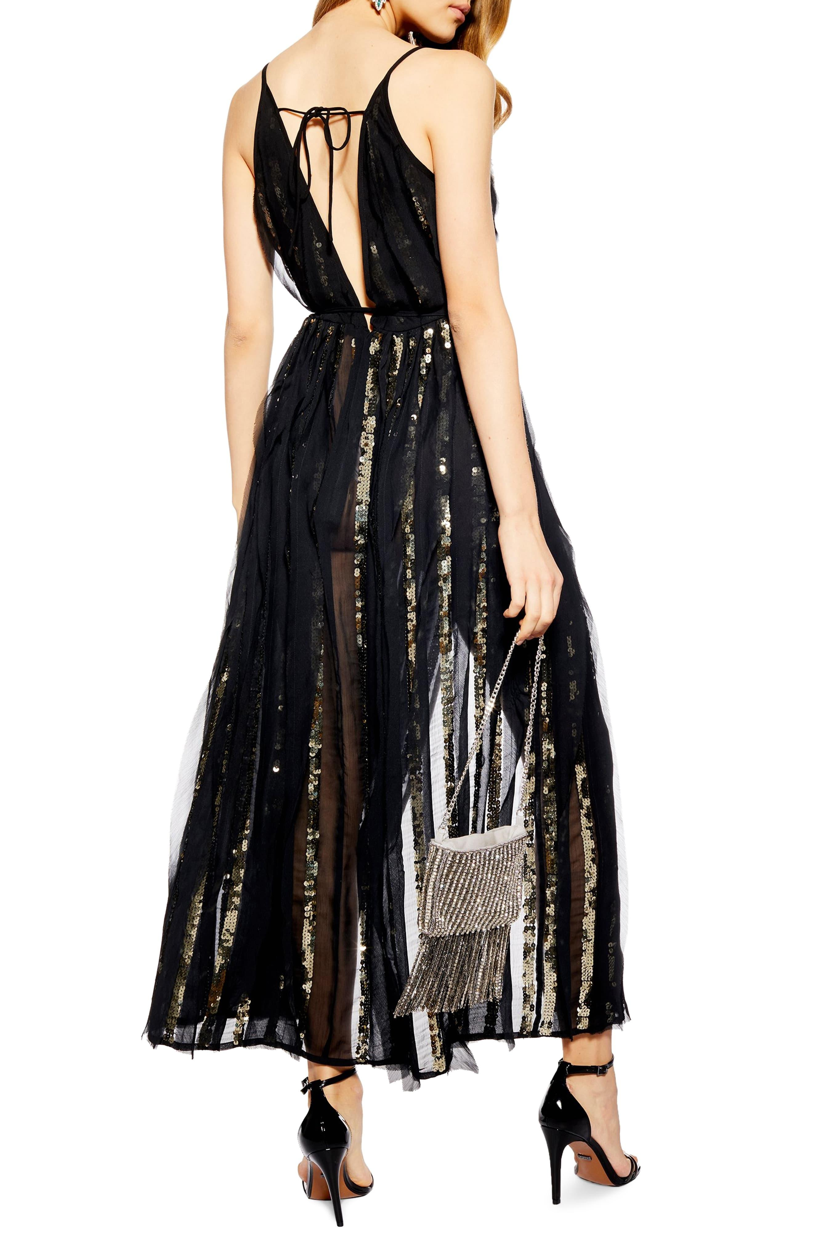 9d28dcabbb TOPSHOP - Black Sequin Stripe Chiffon Maxi Dress - Lyst. View fullscreen