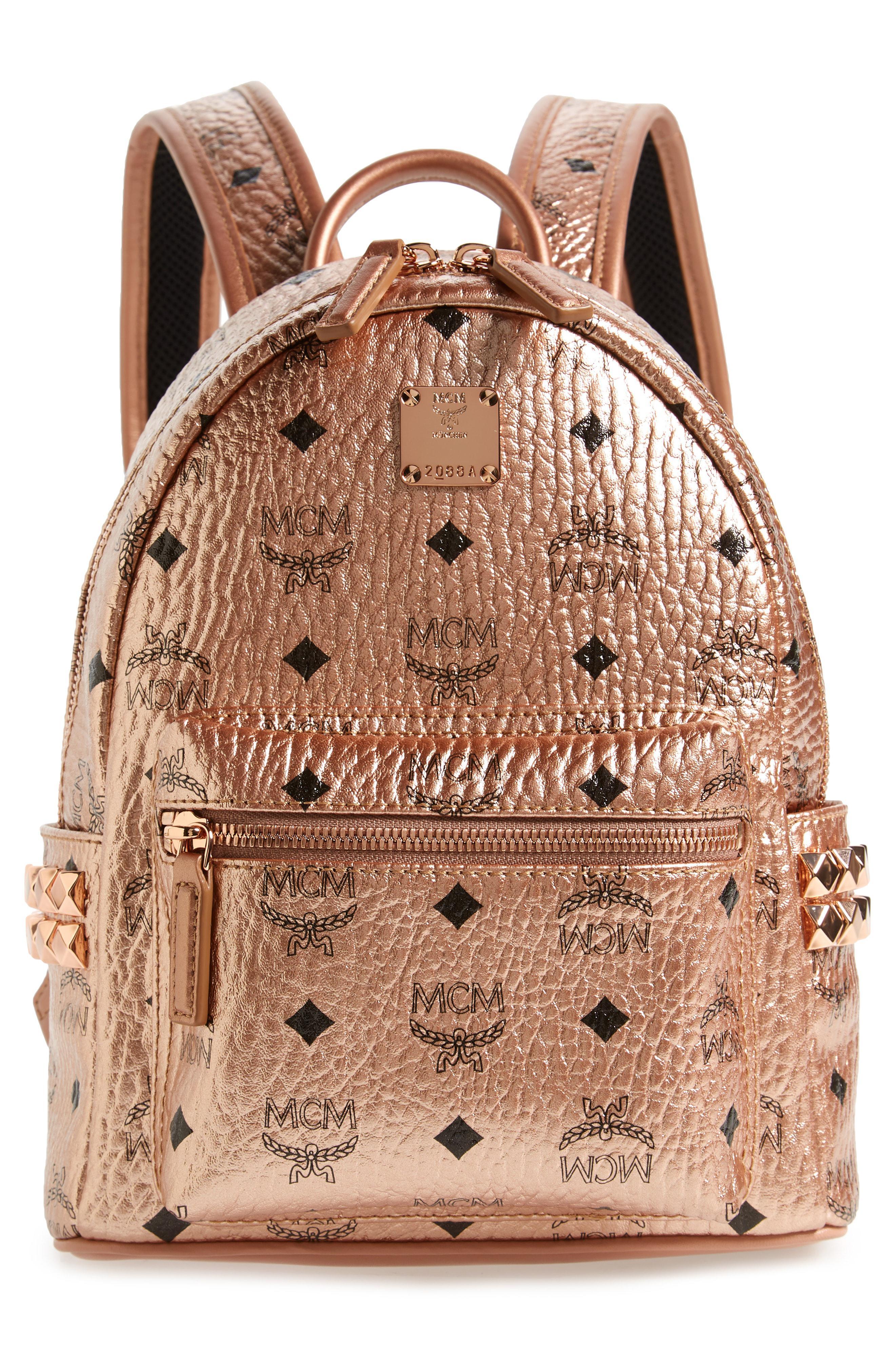 1fc09ef9717c MCM - Brown Mini Stark Side Stud Coated Canvas Backpack - - Lyst. View  fullscreen