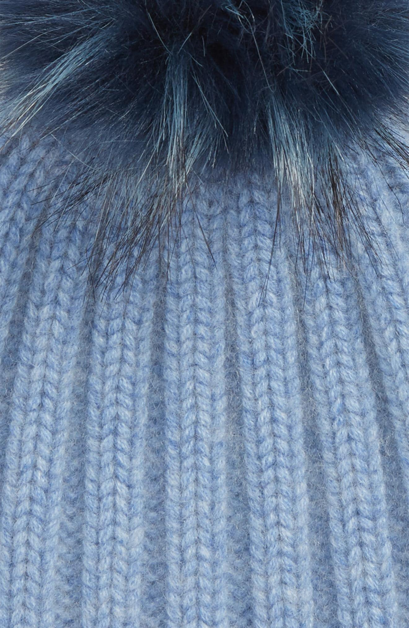 663e96a75abd7 Halogen - Blue Halogen X Atlantic-pacific Cashmere Beanie With Faux Fur Pom  - Lyst. View fullscreen