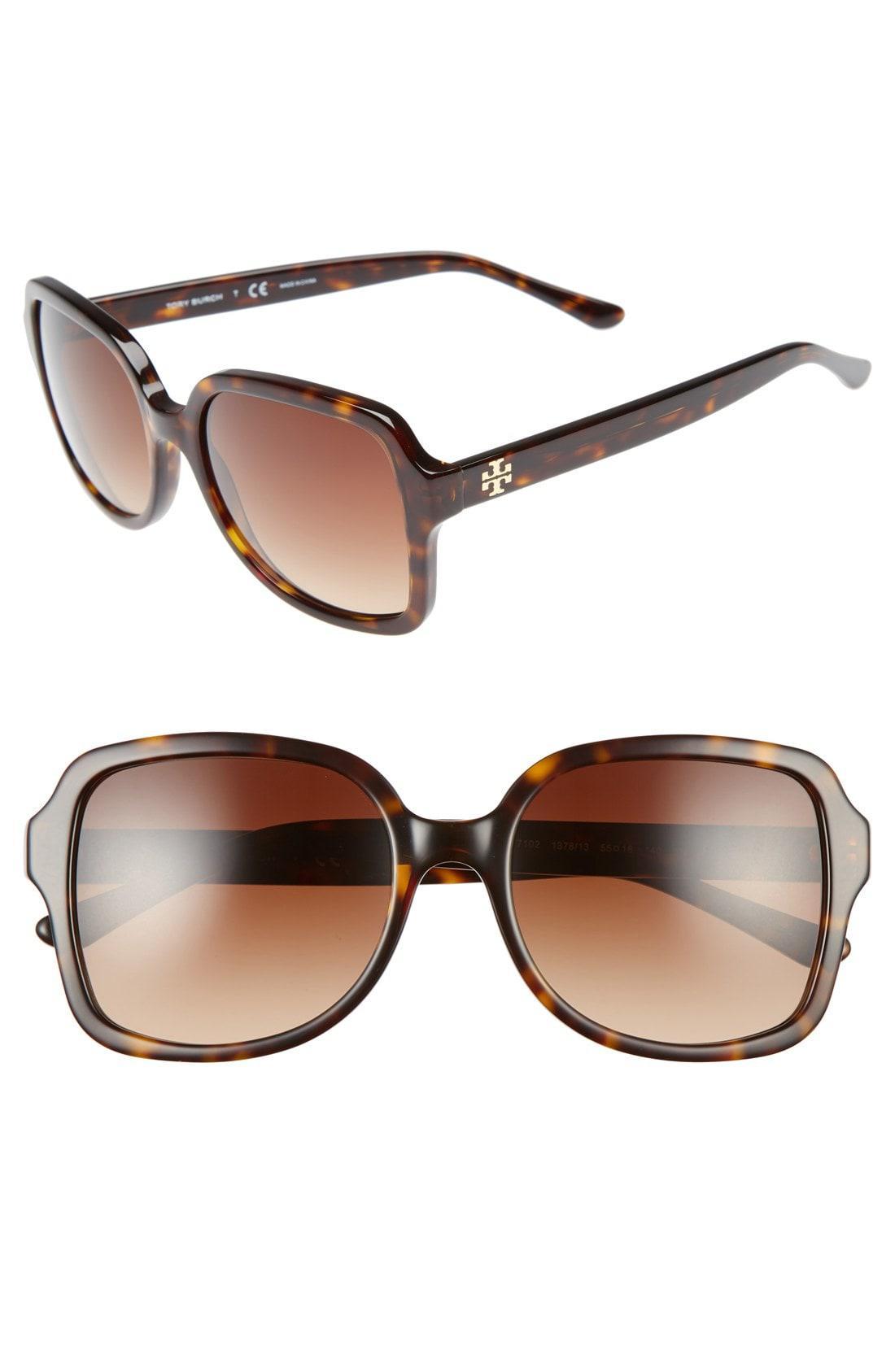 64dd4f8abde64 Lyst - Tory Burch 55mm Square Sunglasses - Dark Tortoise in Brown ...