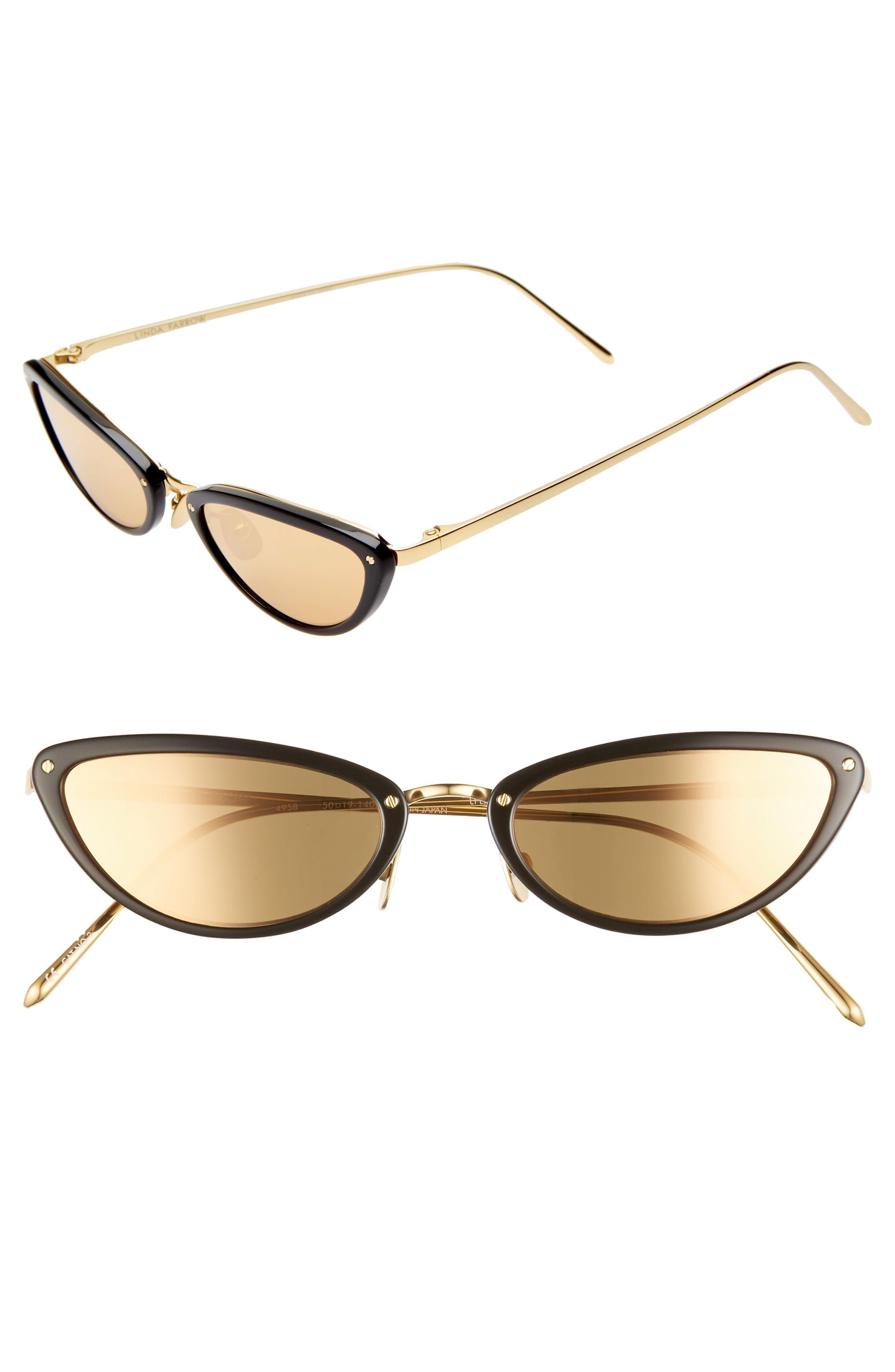 6e6c892403fe Lyst - Linda Farrow 50mm Cat Eye Gold Trim Sunglasses in Metallic