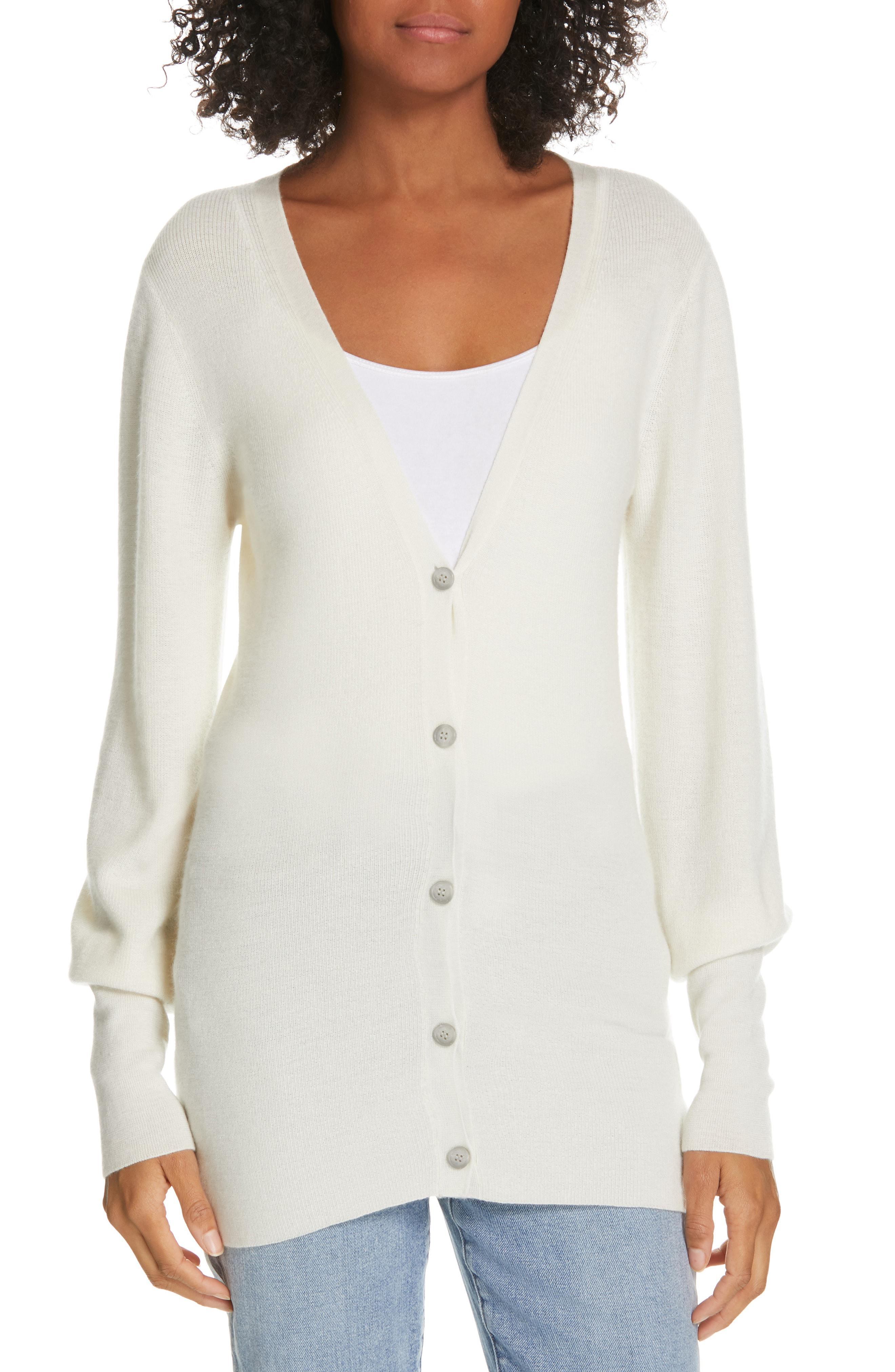 de7bbb4dd2a Theory Balloon Sleeve Cashmere Cardigan in White - Lyst