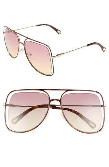 ef5822c3a0 Lyst - Chloé 57mm Halo Frame Aviator Sunglasses - Havana  Rose Honey ...