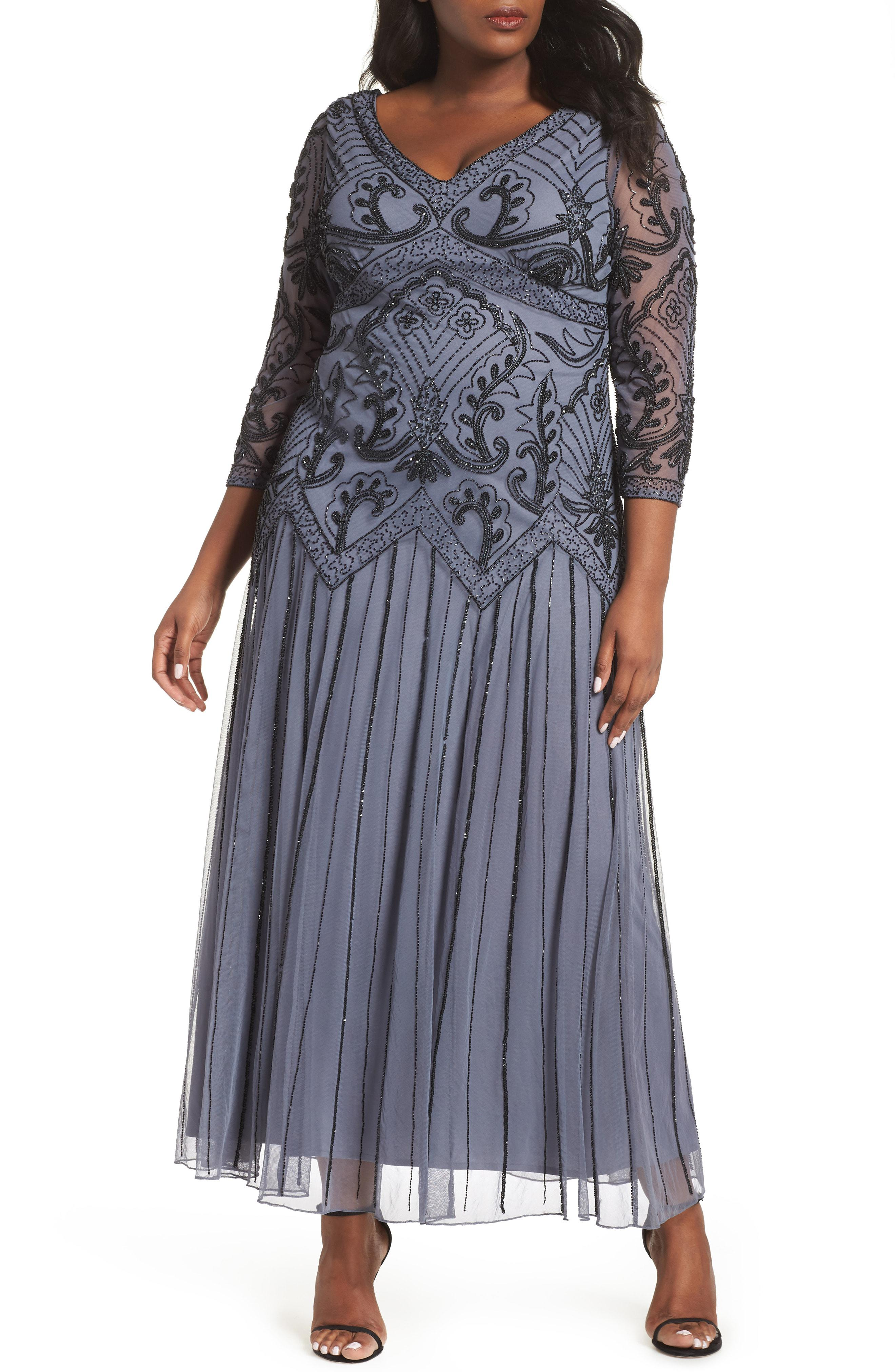6ed0ae389fb Lyst - Pisarro Nights Embellished Double V-neck Long Dress in Gray