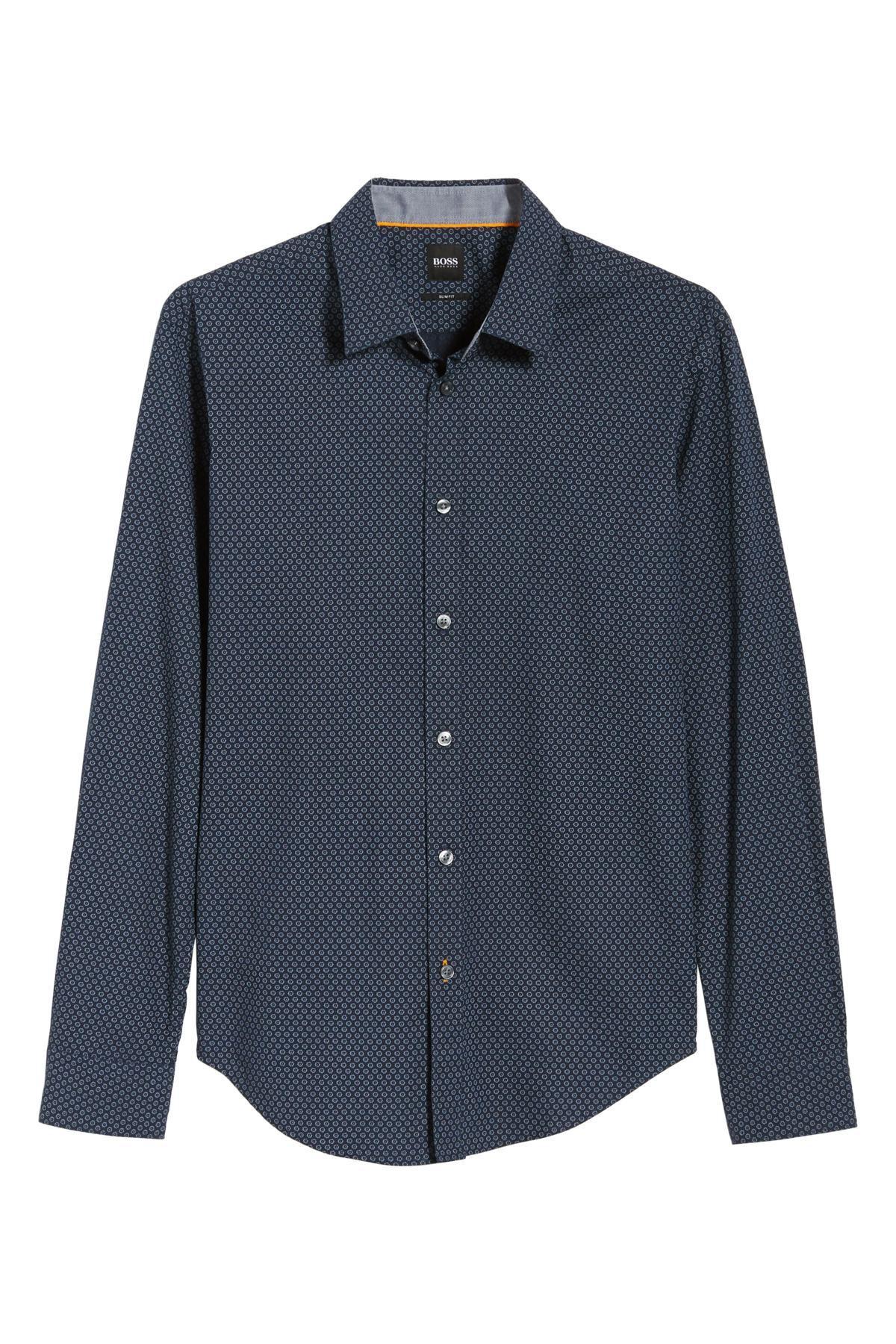 635139cd BOSS Ronni Slim Fit Micro Print Sport Shirt in Blue for Men - Lyst