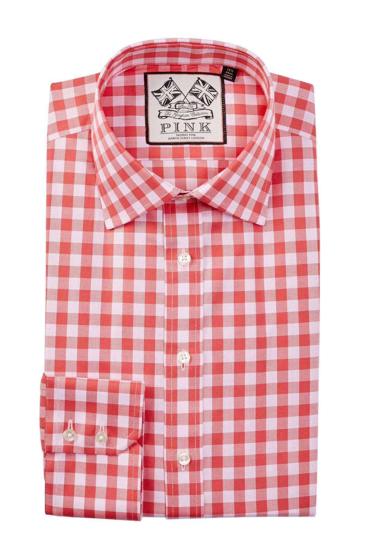 Thomas pink slim fit gingham dress shirt in pink for men for Men s red gingham dress shirt