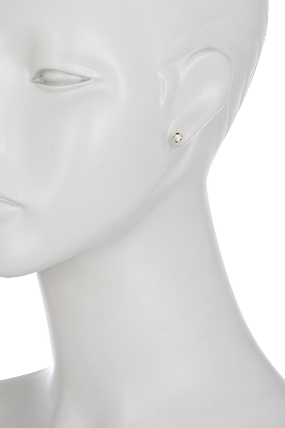 1880793f0 Gucci 18k White Gold Trademark Diamond Heart Stud Earrings in ...