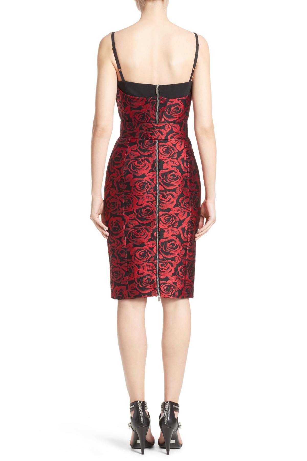 4ba71785584 Lyst - Michael Kors Rose Jacquard Bustier Sheath Dress in Red