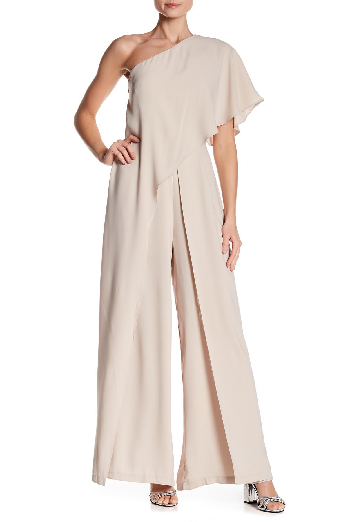 5bfb6c29548 Lyst - Gracia One-shoulder Ruffle Layer Jumpsuit in Natural