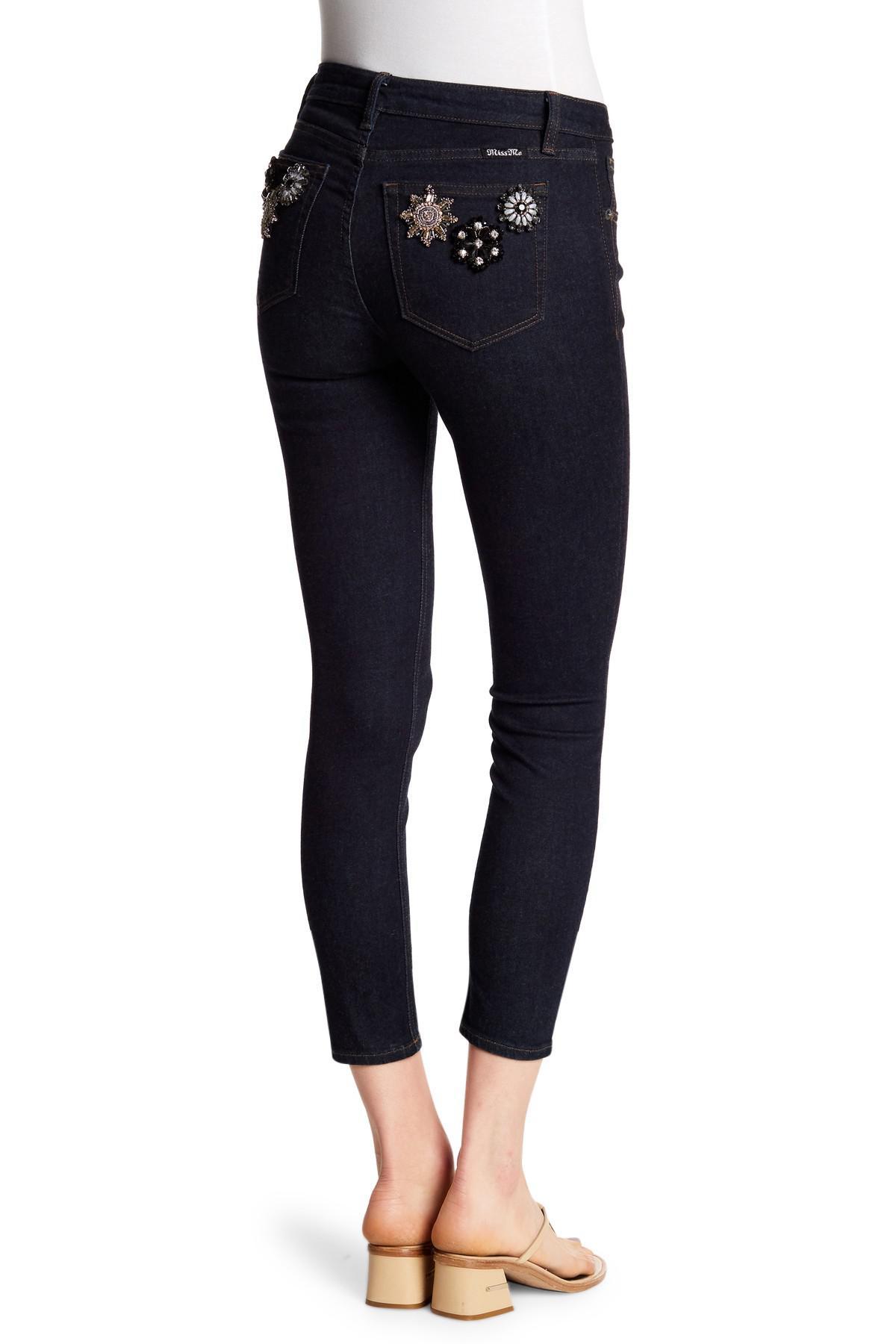 912852b97ef Miss Me - Blue Embellished Back Pocket Ankle Skinny Jeans - Lyst. View  fullscreen