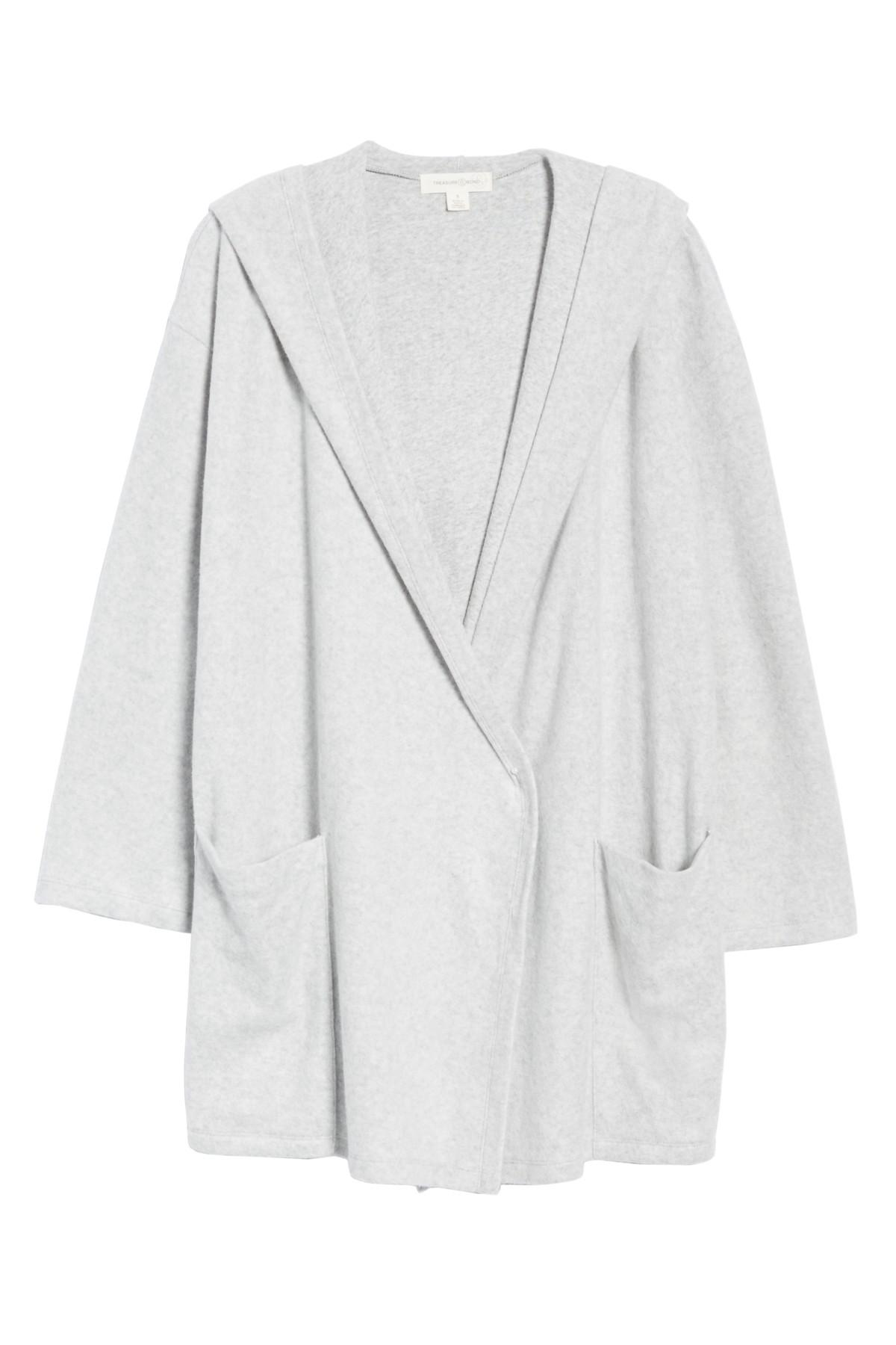 Lyst - Treasure   Bond Hooded Open Front Cardigan in Gray 03b9e8815