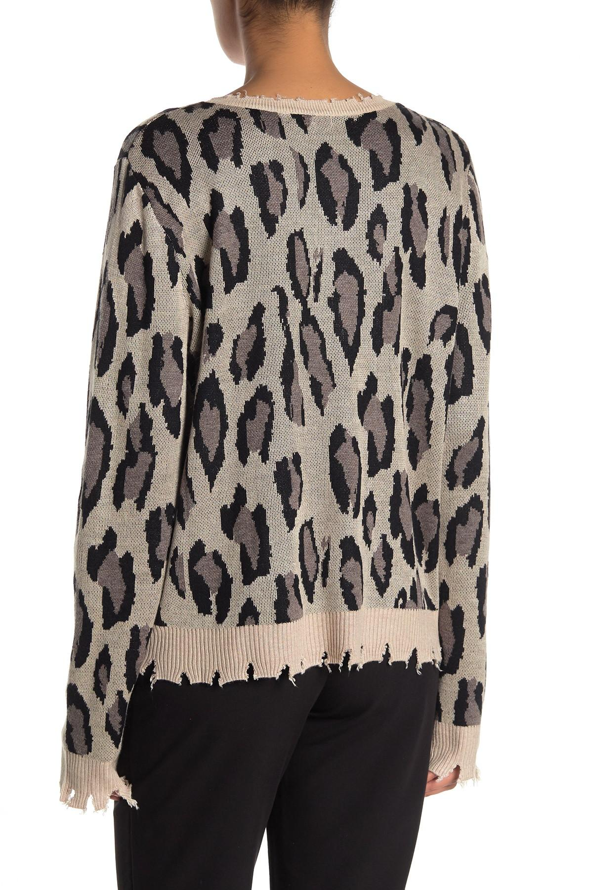2c6154af57c4 Fate Distressed Leopard Print Sweater in Black - Lyst