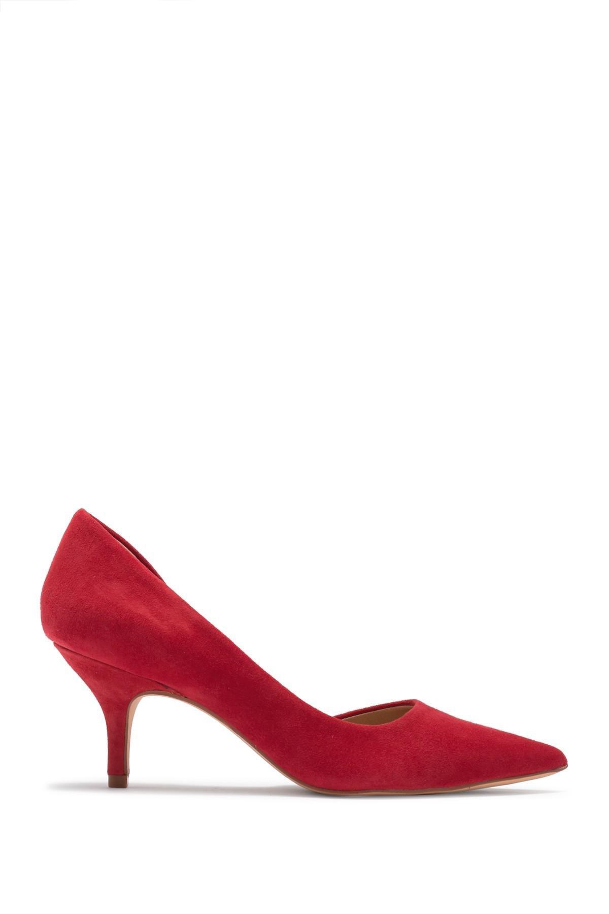 09cb791001b Lyst - Steve Madden Flory Suede Kitten Heel Pump in Red