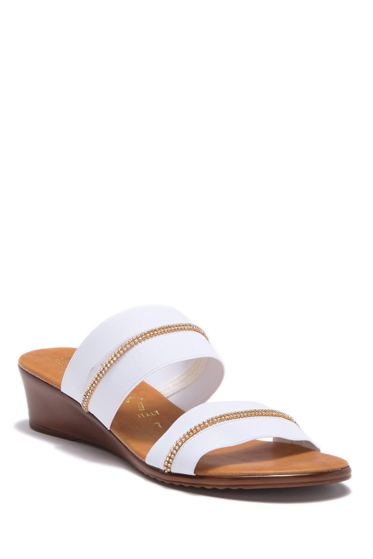 ee9e5afa6a Lyst - Italian Shoemakers Jewel Embellished Wedge Sandal in White
