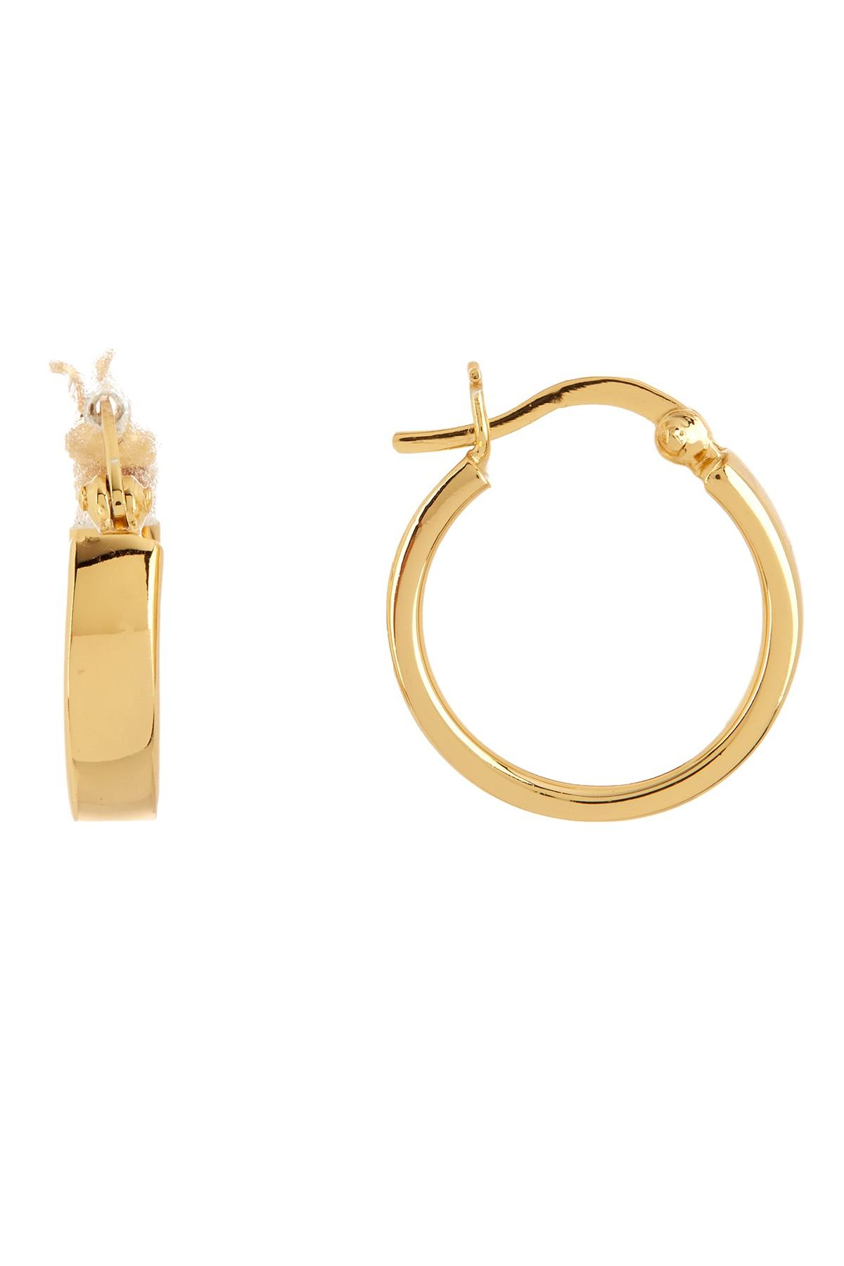 8f1dd93b2 Argento Vivo 18k Gold Plated Sterling Silver Mini Square Edge Hoop ...