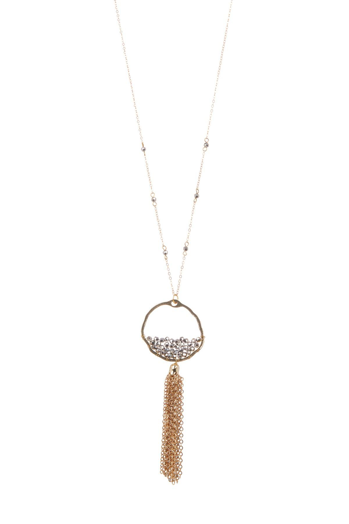 Panacea Seed Bead Tassel Pendant Necklace ZKSo5cd3V