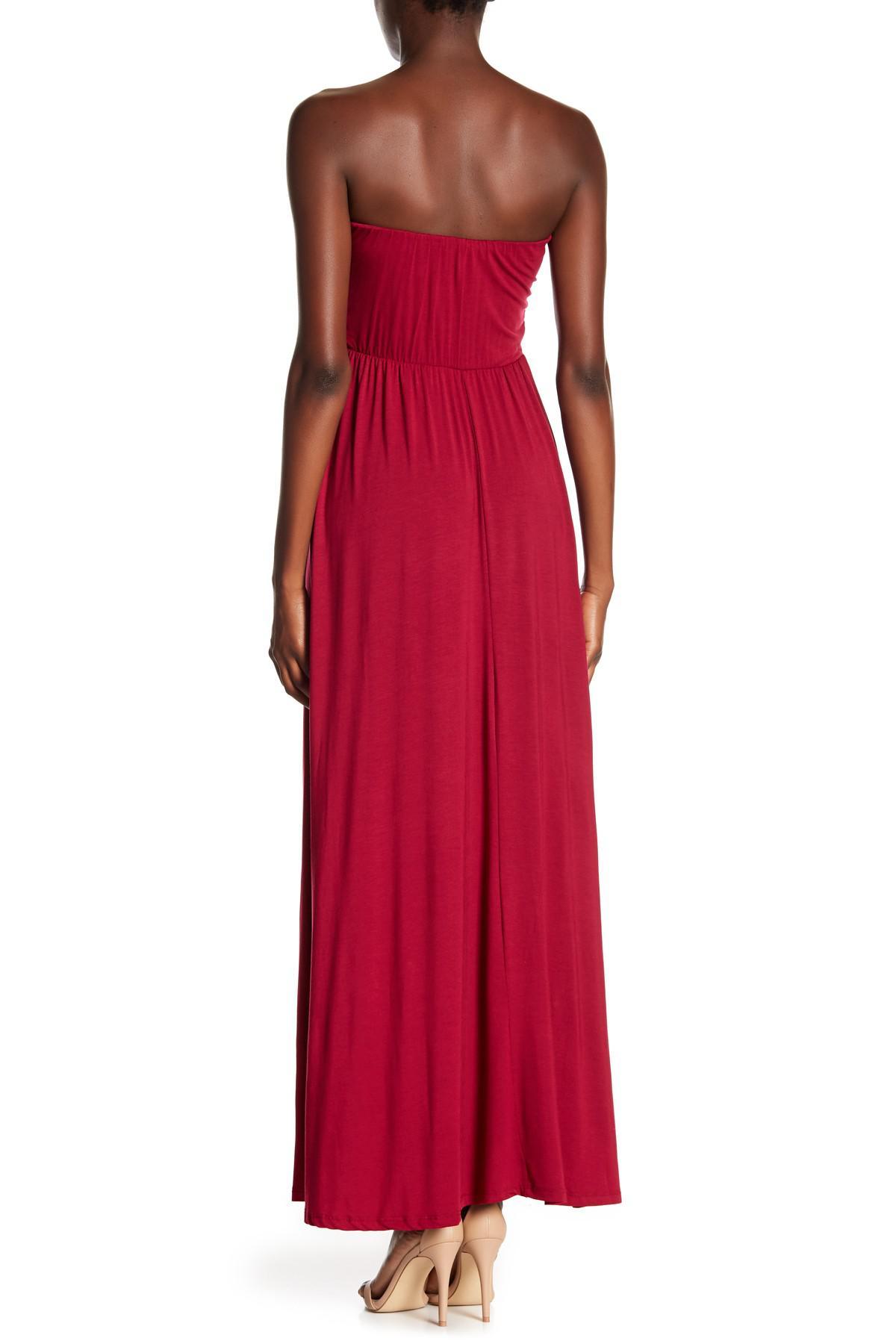 599ab1da3c9 West Kei - Red Strapless Maxi Dress - Lyst. View fullscreen