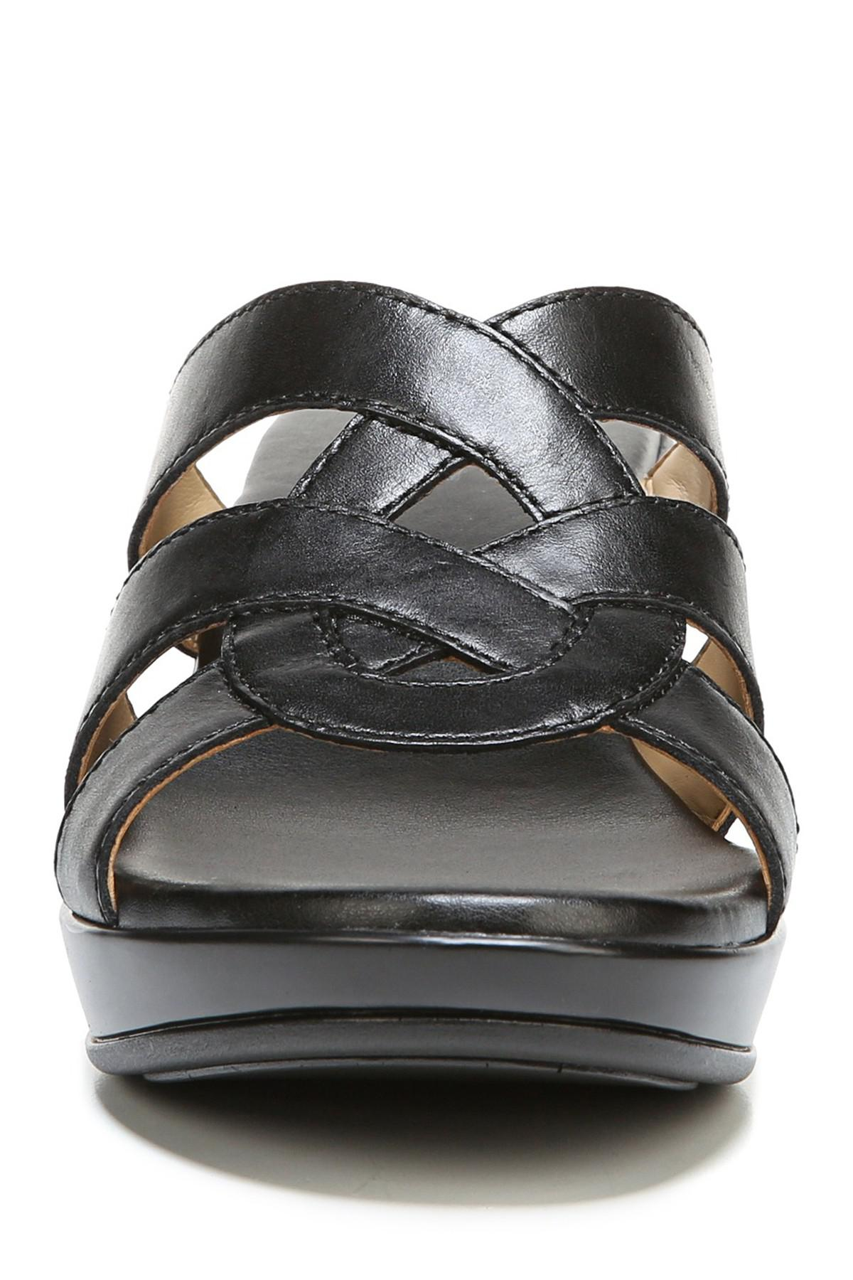 5ef64742568 Naturalizer - Black Violet Leather Wedge Sandal - Wide Width Available -  Lyst. View fullscreen