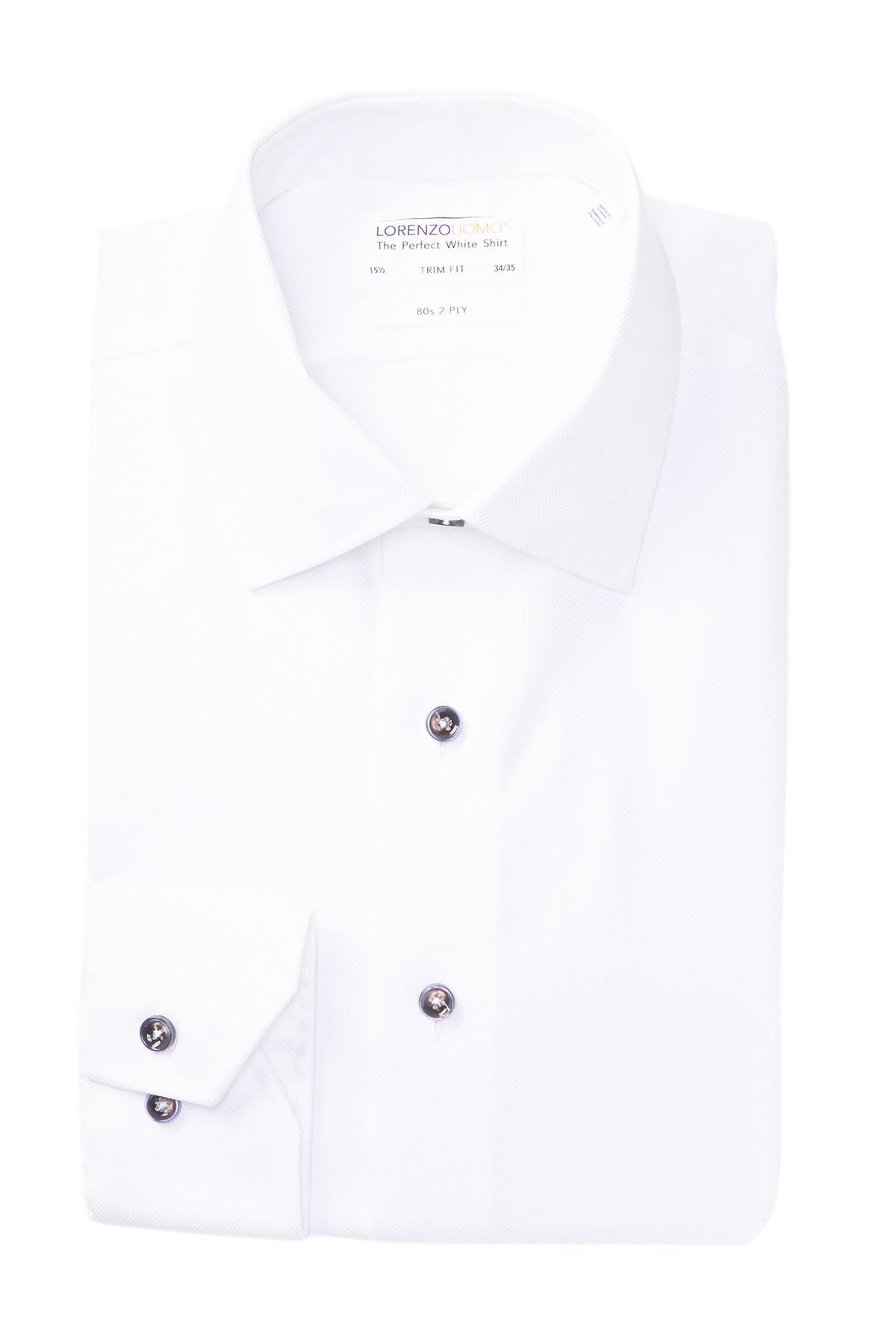 Lyst Lorenzo Uomo Mini Chevron Trim Fit Dress Shirt In White For Men