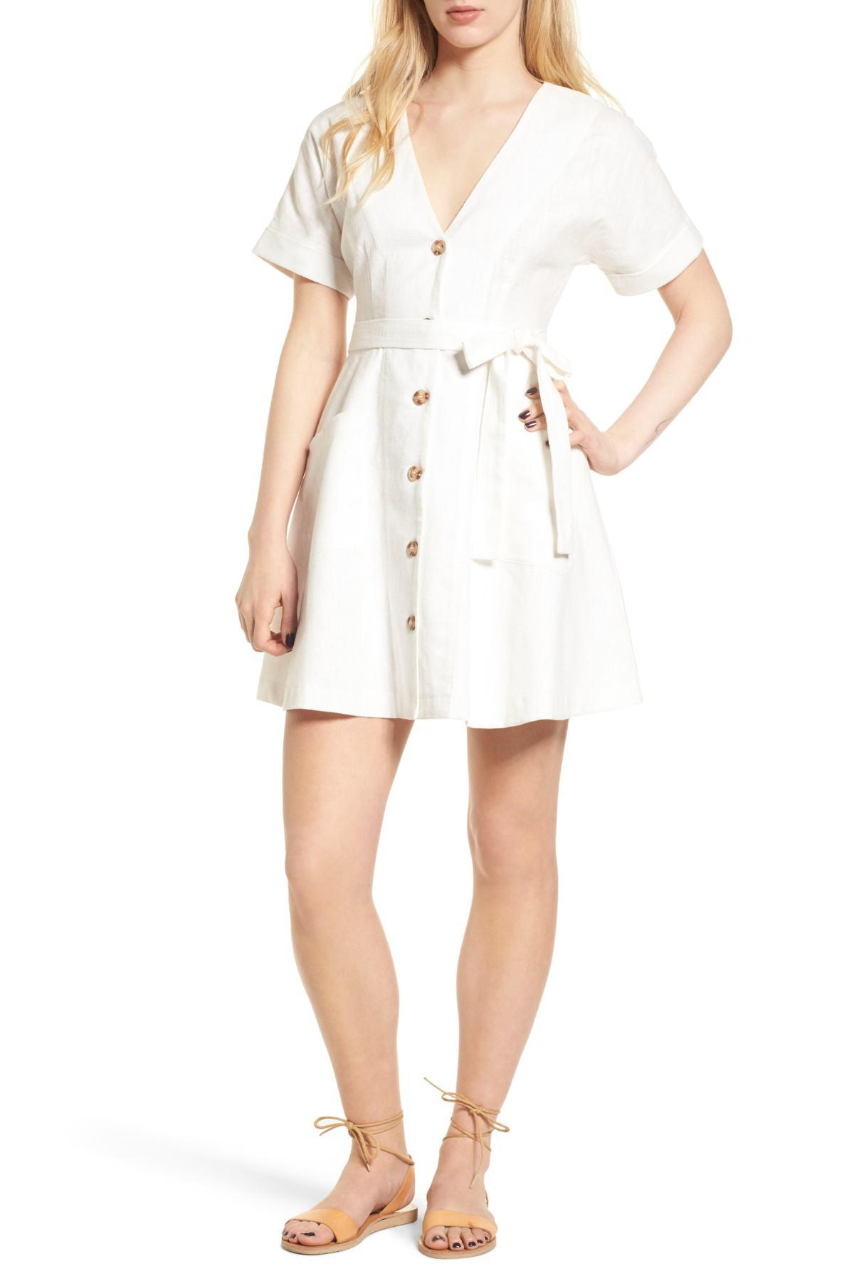 39e9464726 Lyst - Moon River Button Front Dress in White