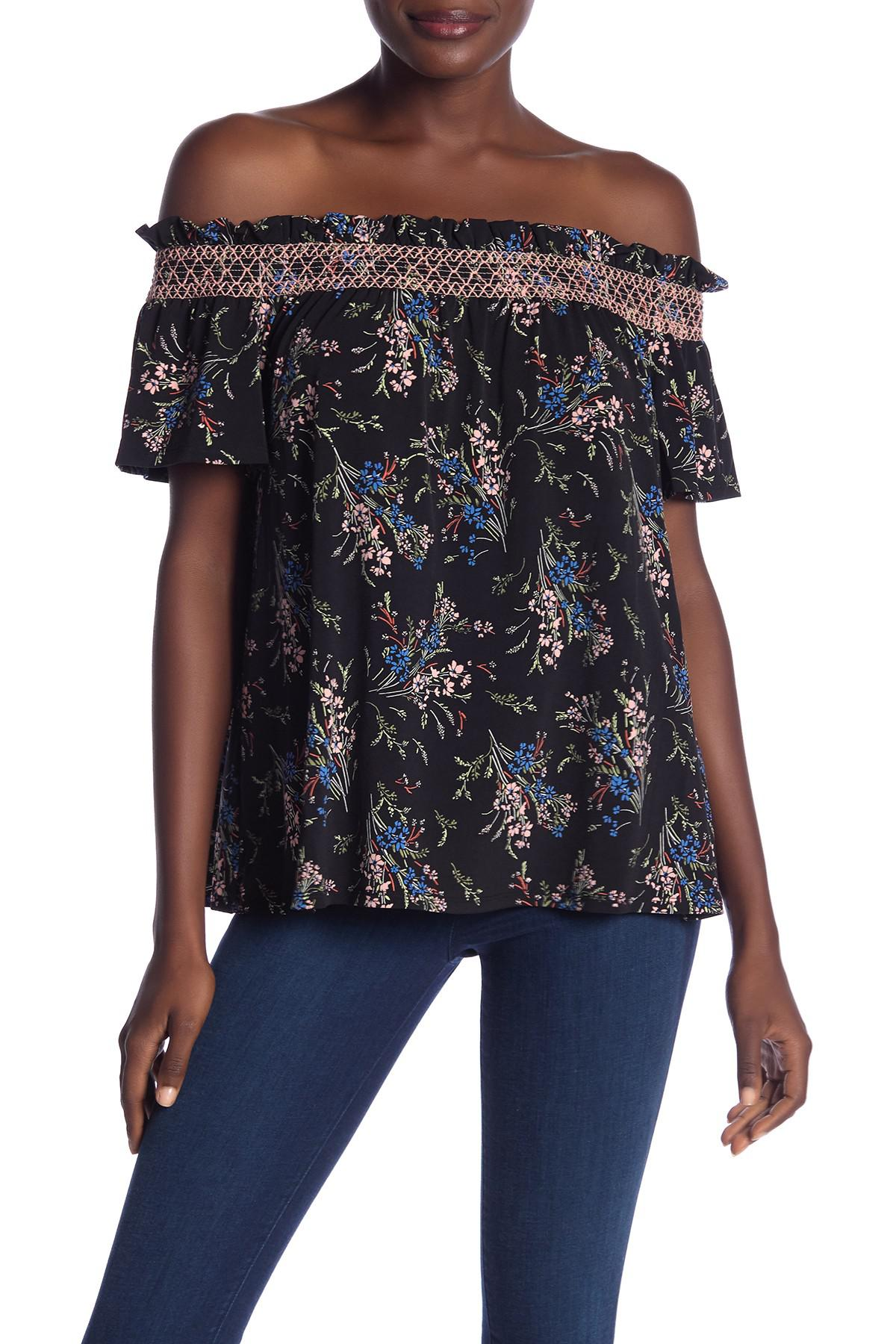 0fa91e227cdbb Lyst - Cece By Cynthia Steffe Floral Off-the-shoulder Short Sleeve ...