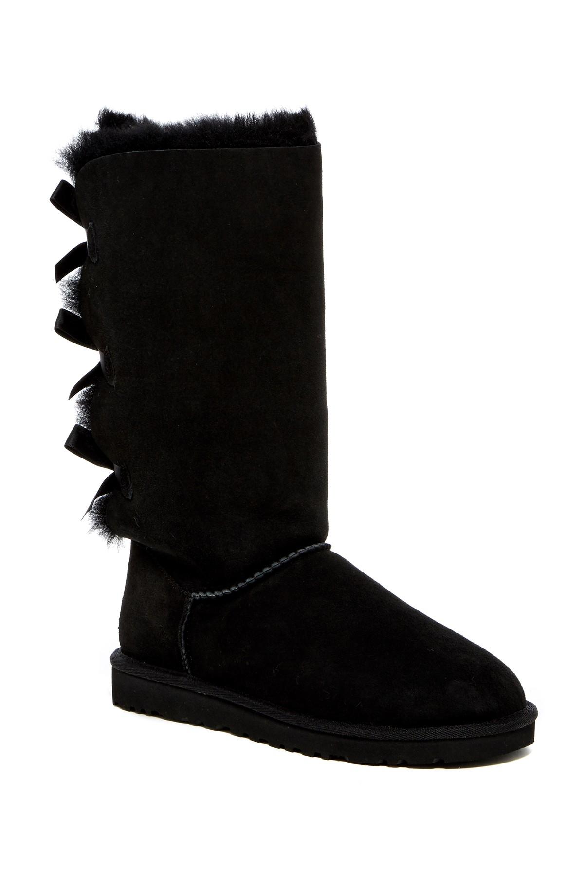 Ugg Bailey Bow Genuine Sheepskin Boot In Black Lyst