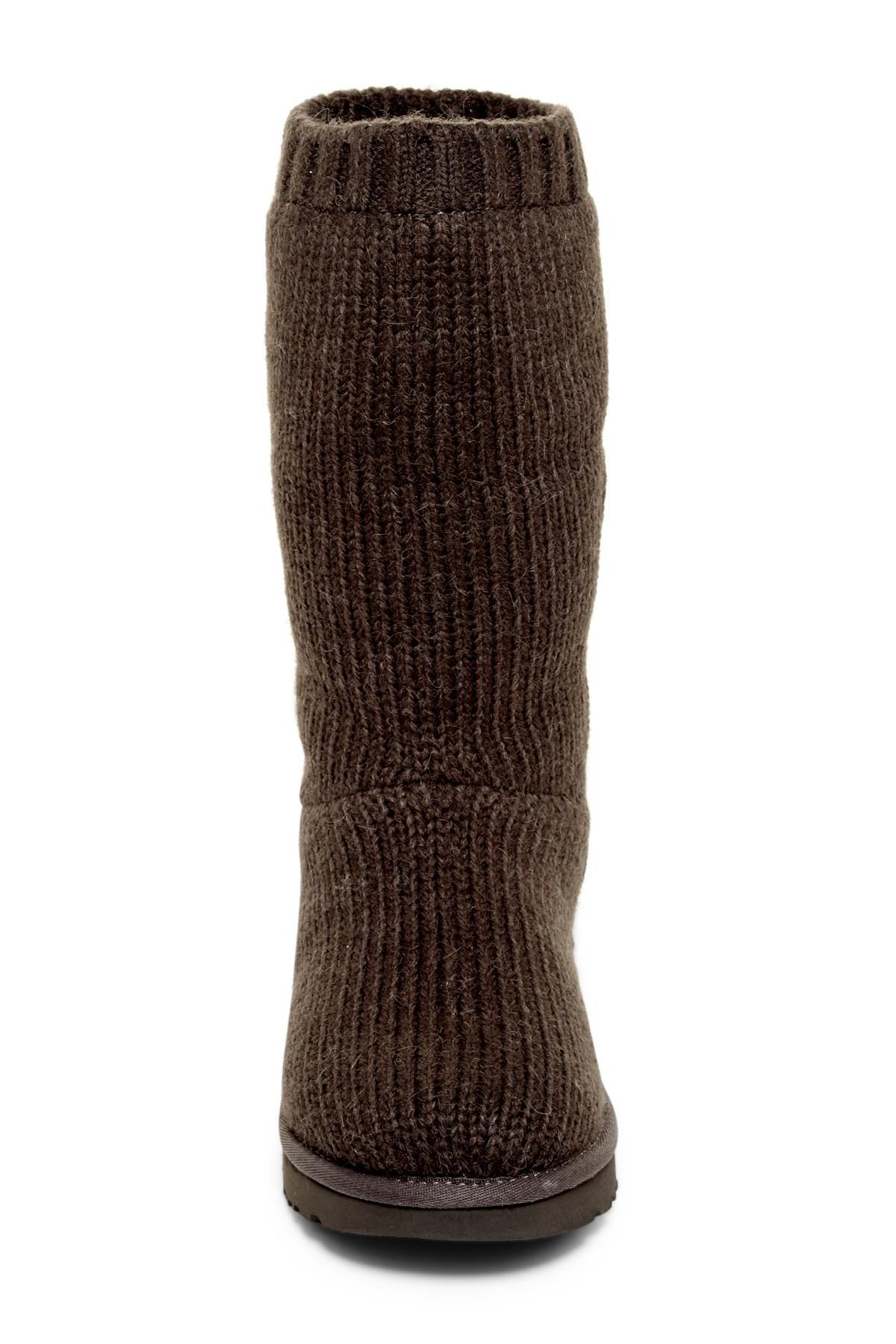Ugg Capra Ribbed Knit Genuine Shearling Lined Boot in Gray Lyst