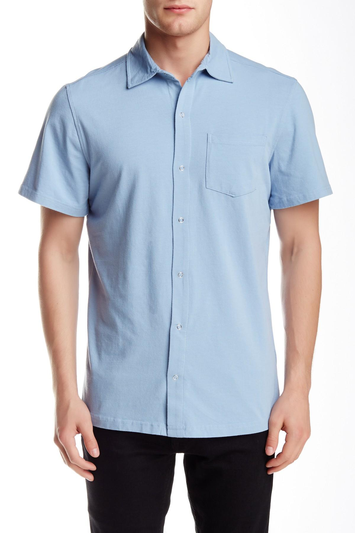 Spenglish short sleeve snap button shirt in blue for men for Mens shirts with snaps instead of buttons