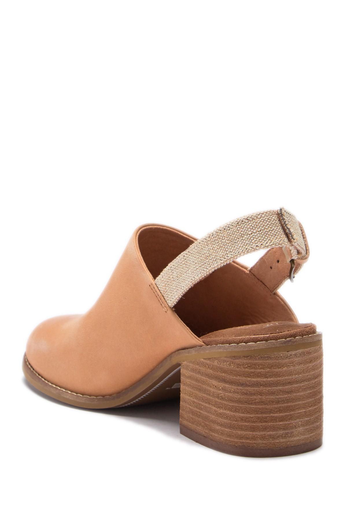 0125749cc8e TOMS - Natural Leila Leather Slingback Block Heel Sandal - Lyst. View  fullscreen
