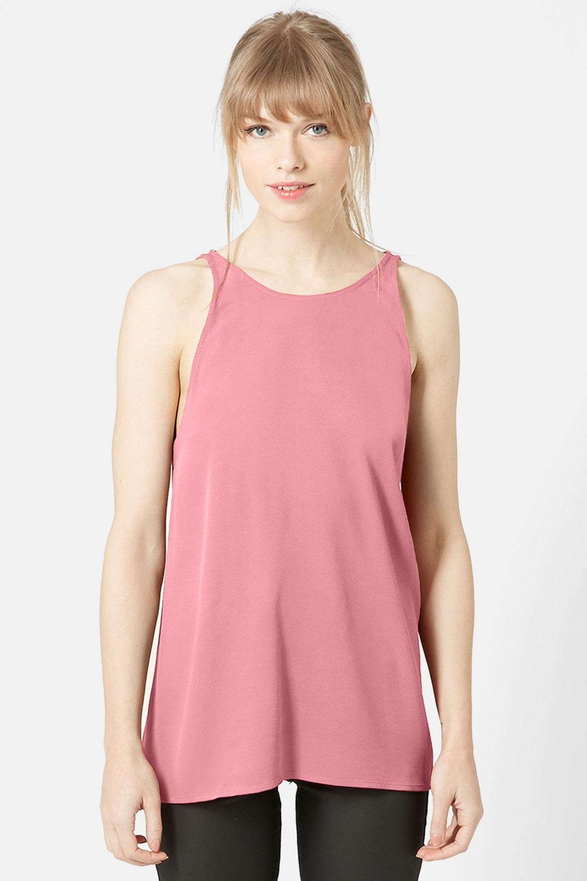 Lyst Topshop Milo Split Back Sleeveless Blouse In Pink