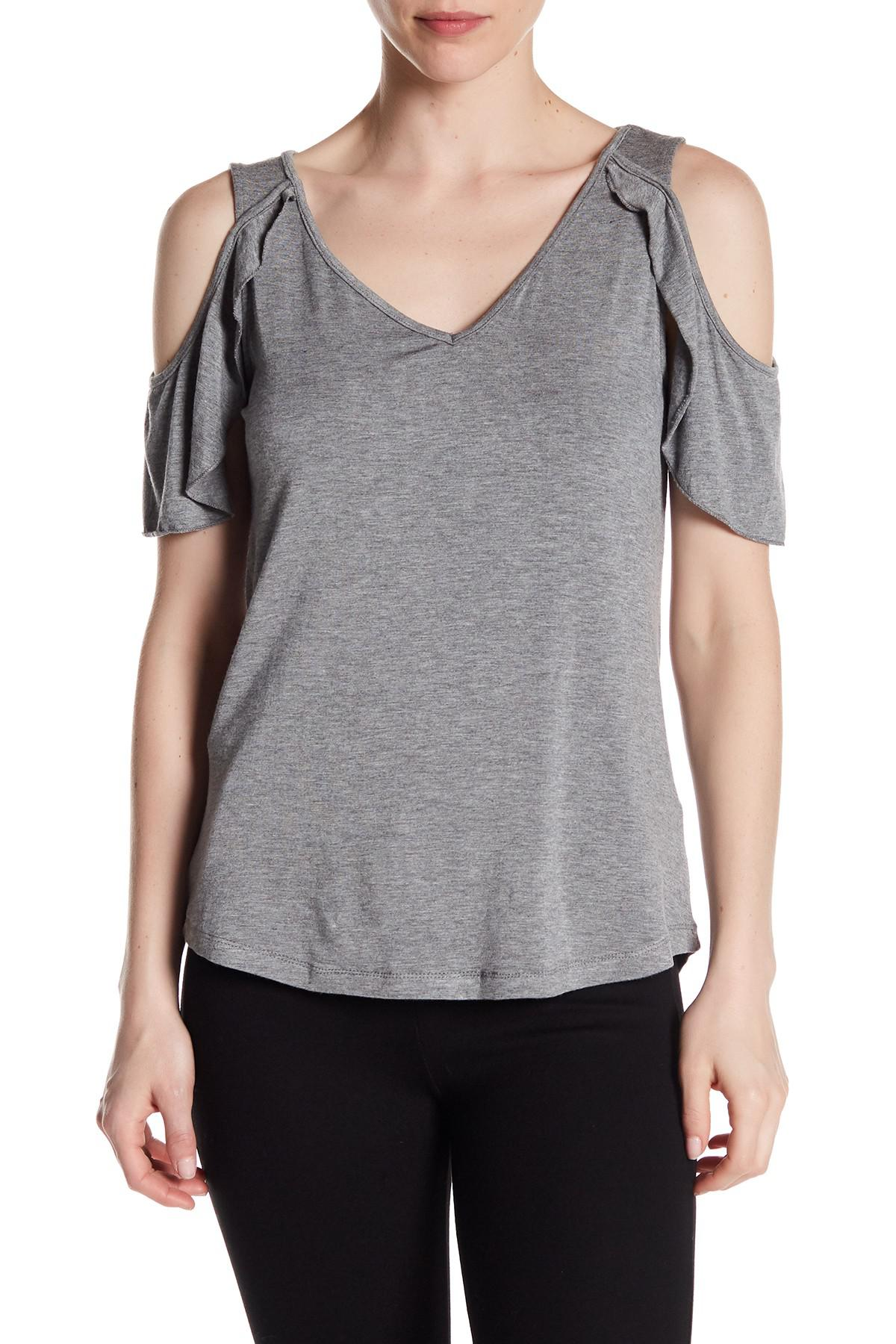 aaae48e3c3fa9 Lyst - Dex Butterfly Cold Shoulder Top in Gray