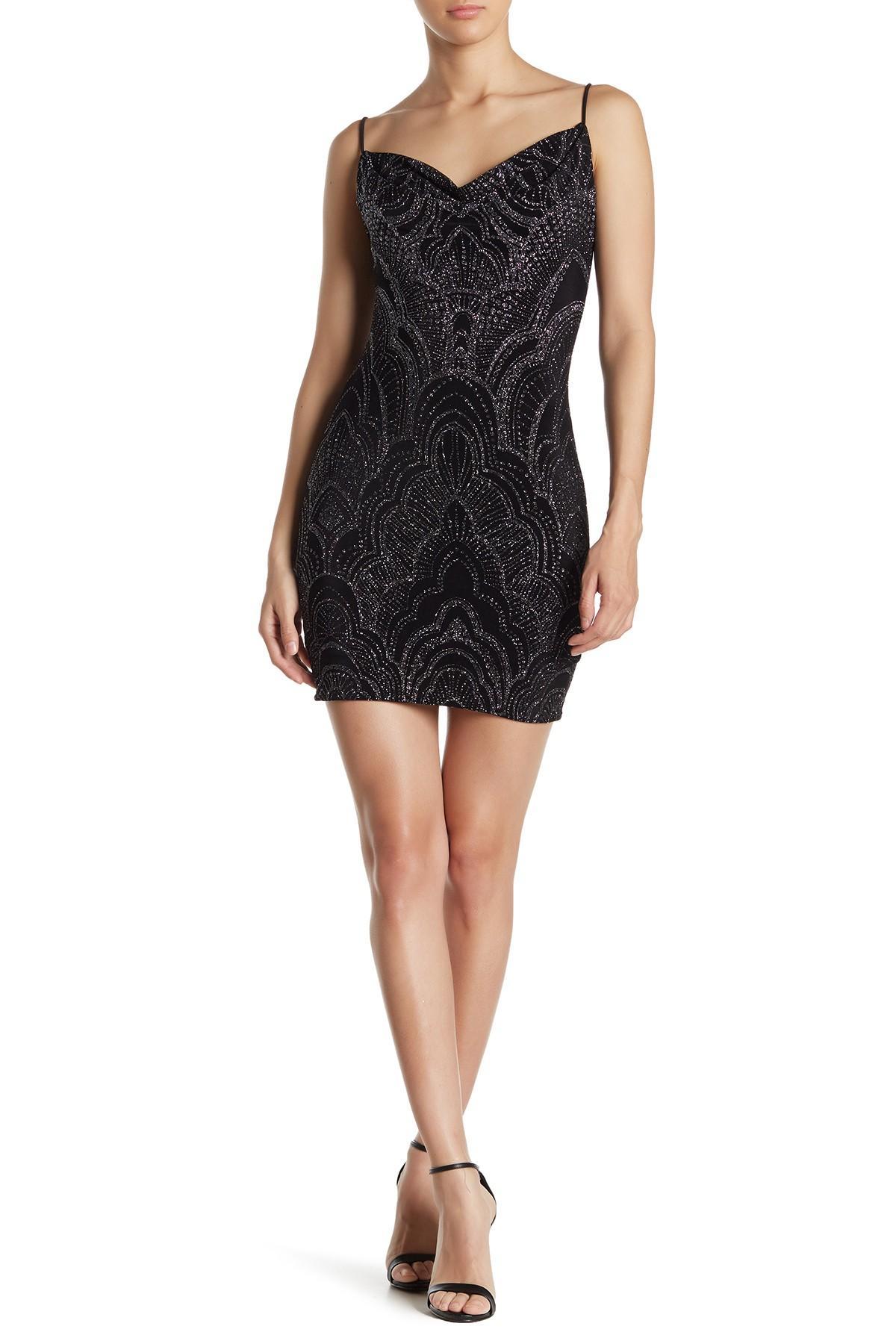 Black textured glitter cowl neck bodycon dress image designer names