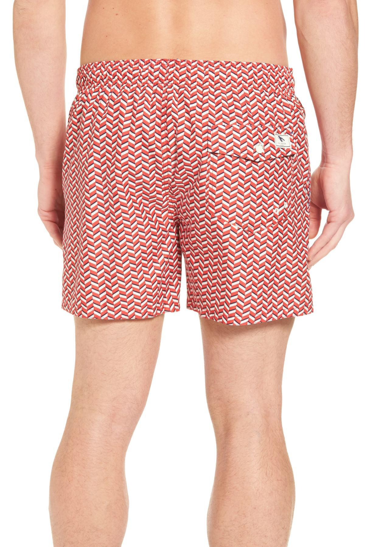 a3b07c46e4 Ted Baker Caven Geo Print Swim Trunks in Red for Men - Save 44% - Lyst