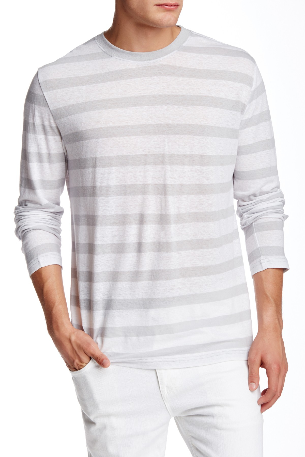 Slate And Stone Clothing : Lyst slate stone striped long sleeve tee in gray for men