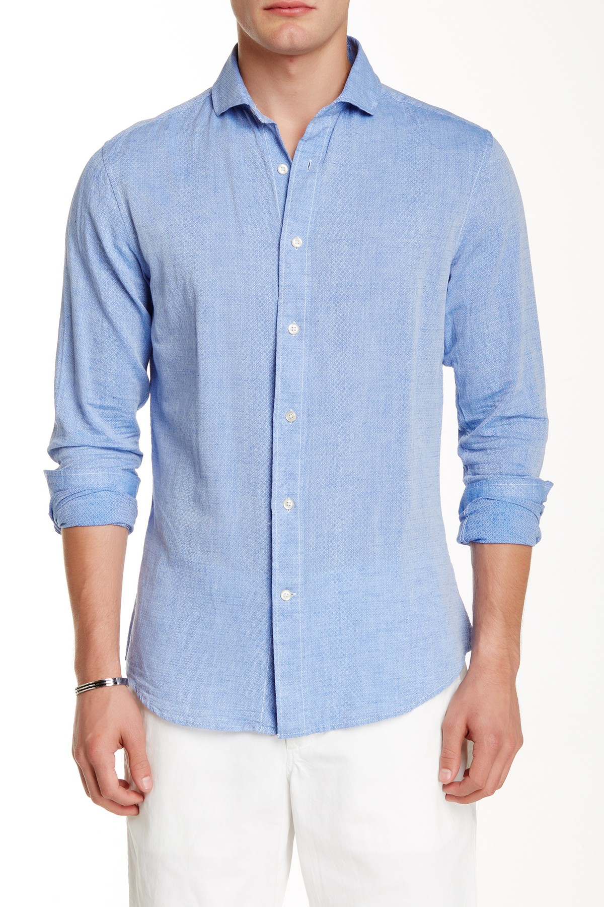 Slate And Stone Clothing : Slate stone trim fit long sleeve woven shirt in blue for
